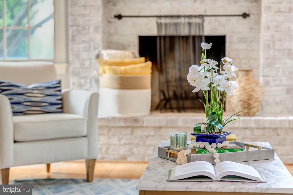 white washed fireplace - 22606 HILLSIDE CIR, LEESBURG