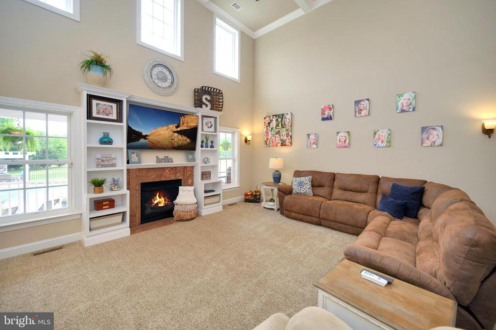 Family Room with coffered ceilings - 13701 AVALON RIVER DR, FREDERICKSBURG