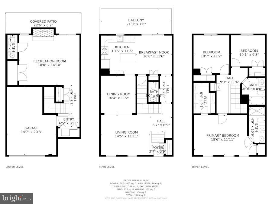 Floor Plans of All 3 Levels - 8009 MERRY OAKS LN, VIENNA