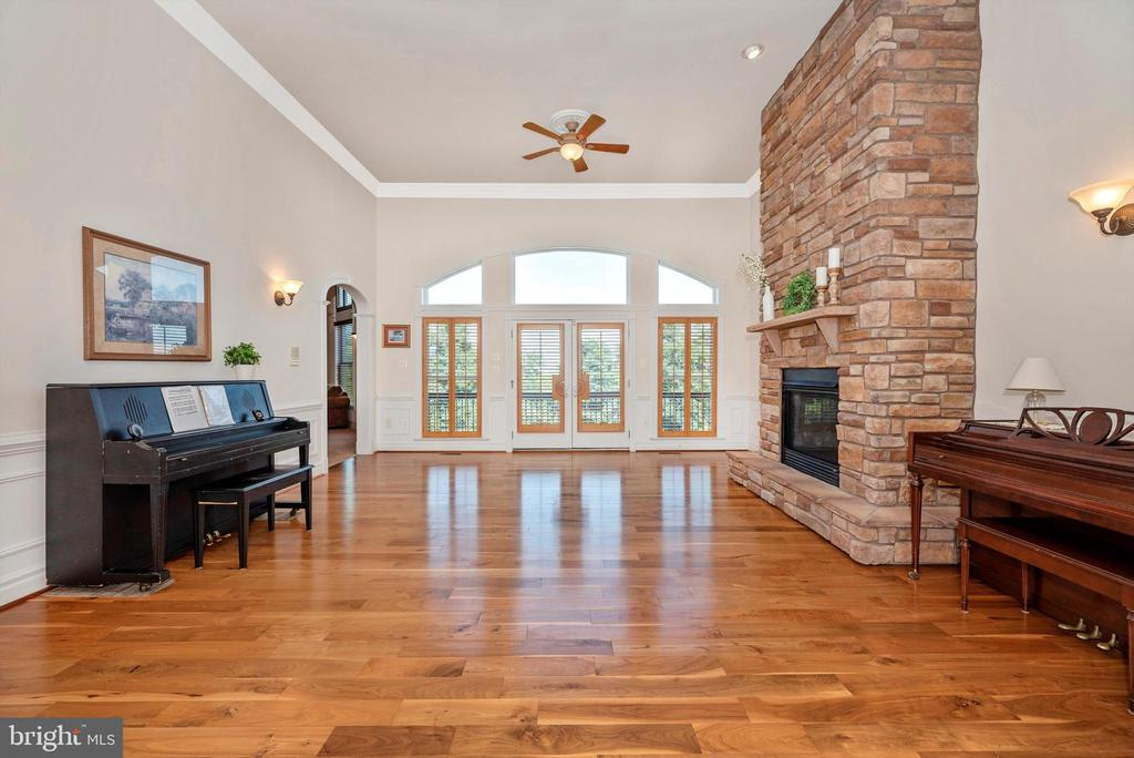 Formal Living Room with Fireplace & French Doors - 7525 OLD RECEIVER RD, FREDERICK