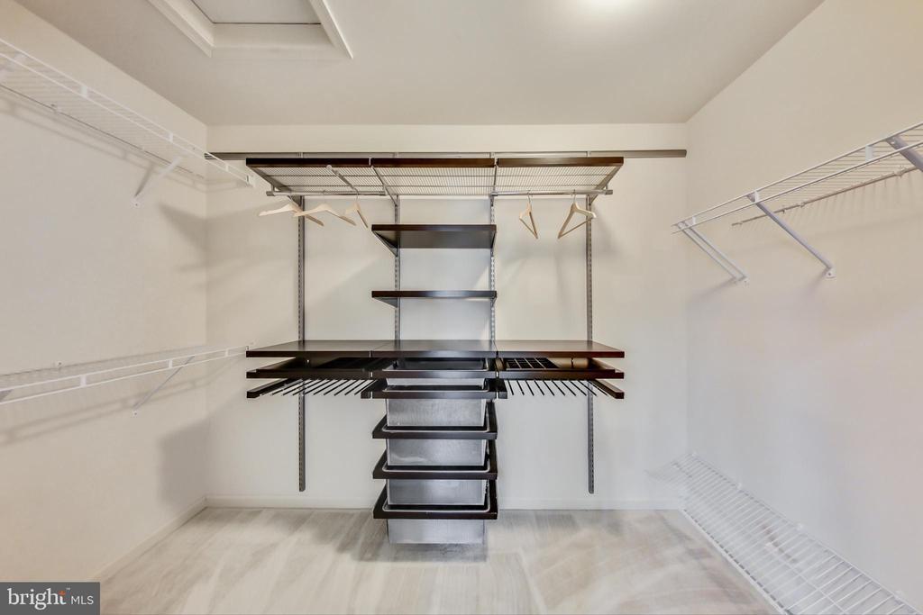 Owner's walk-in closet with custom elfa shelving - 23636 SAILFISH SQ, BRAMBLETON