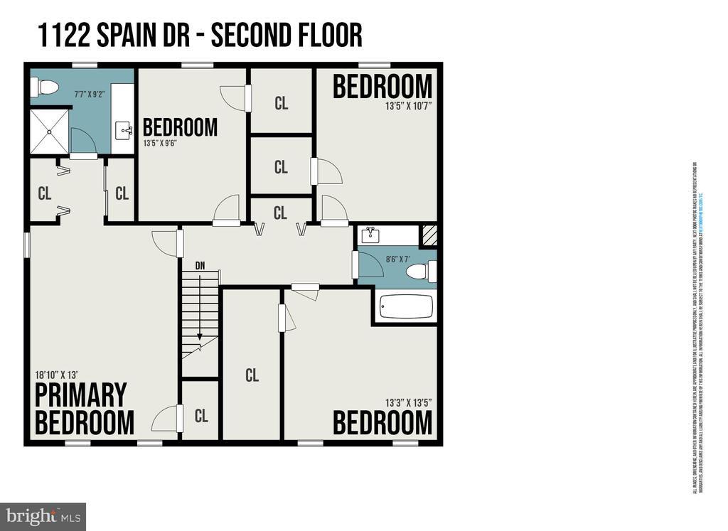 Upper Level Floorplan - 1122 SPAIN DR, STAFFORD