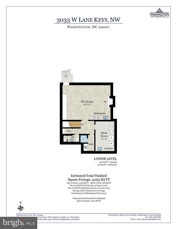 Lower Level Floor Plan - 3033 WEST LANE KEYS NW, WASHINGTON