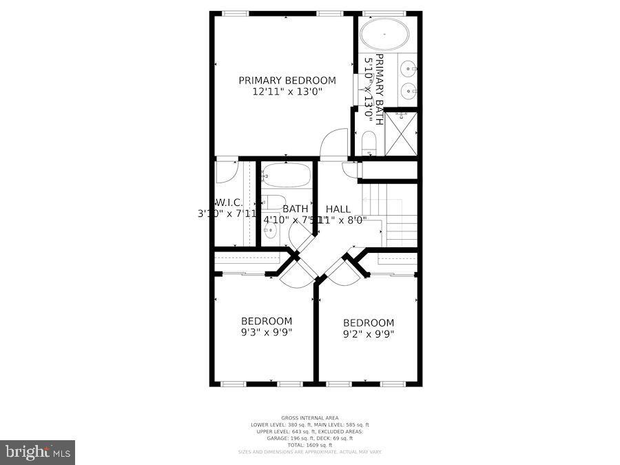 Floor Plan - Upper Level of Home - 6342 JAMES HARRIS WAY, CENTREVILLE