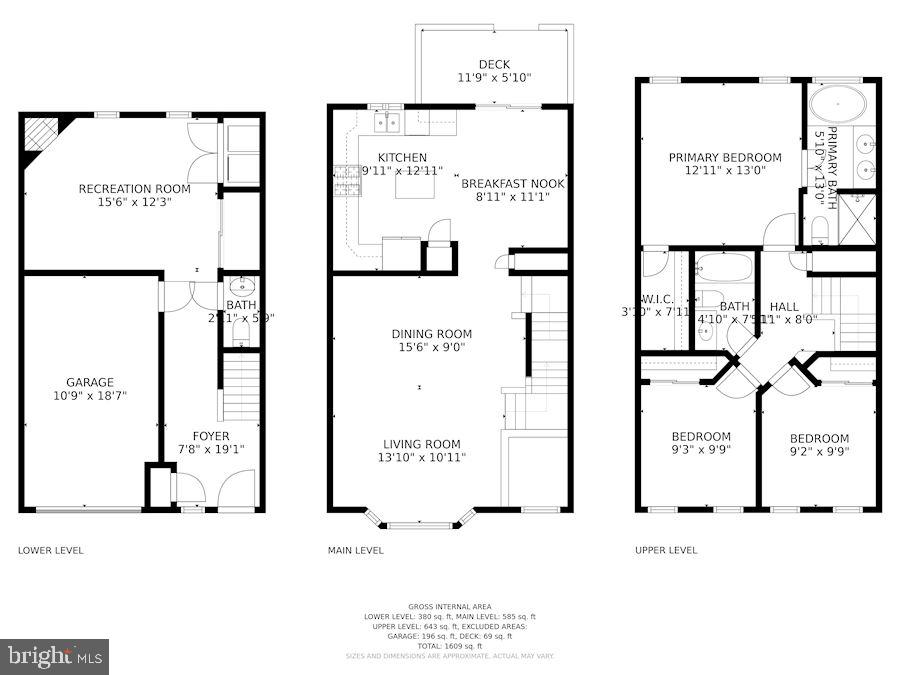 Floor Plan - All 3 Levels - 6342 JAMES HARRIS WAY, CENTREVILLE