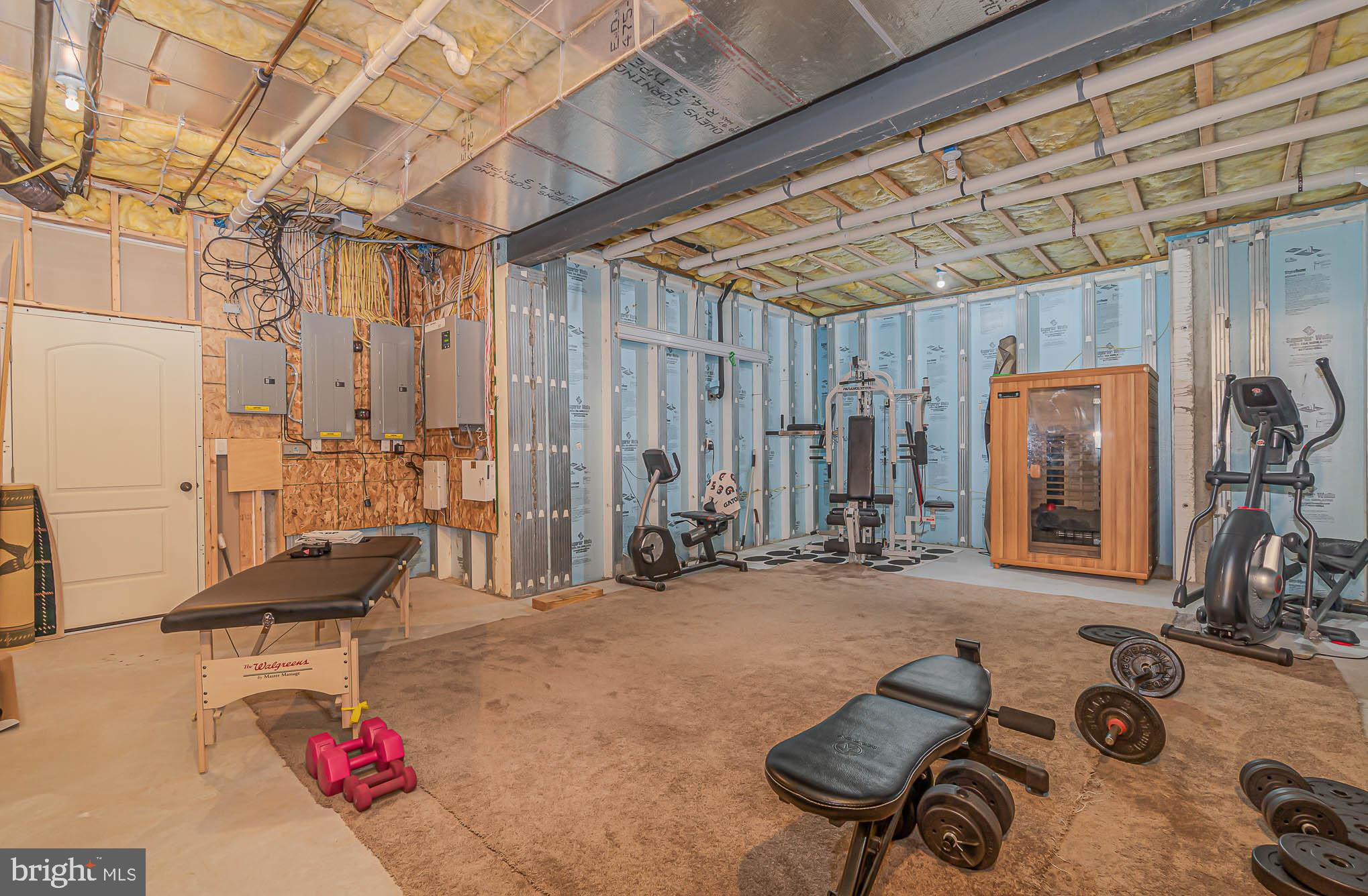 Unfinished storage rm makes a great workout room