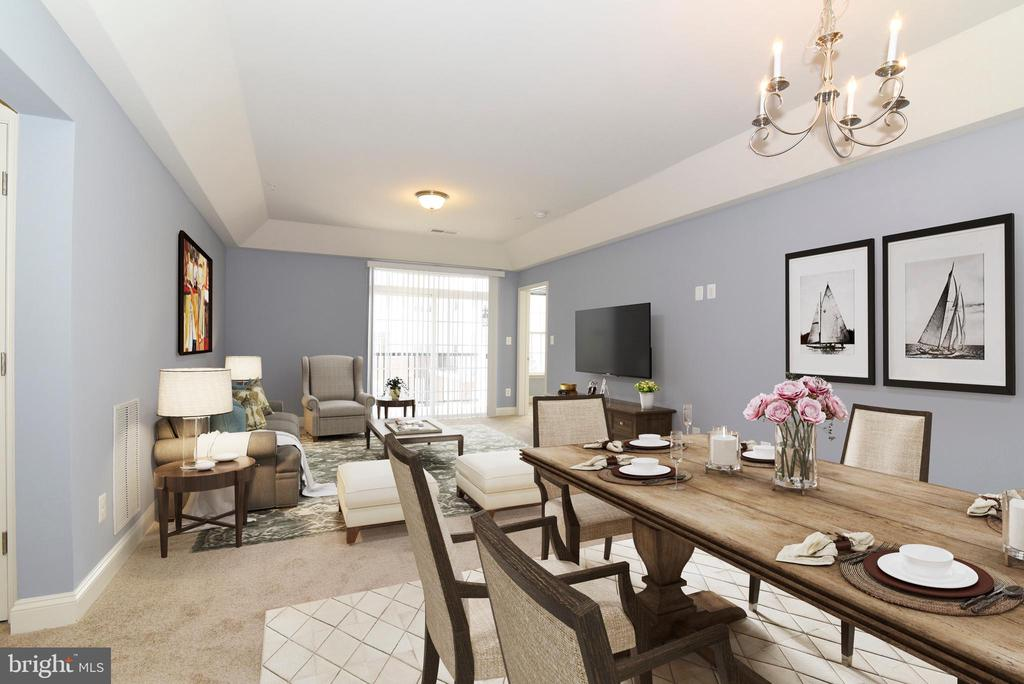 Living room with Dining area-Virtually Staged - 9200 CHARLESTON DR #201, MANASSAS