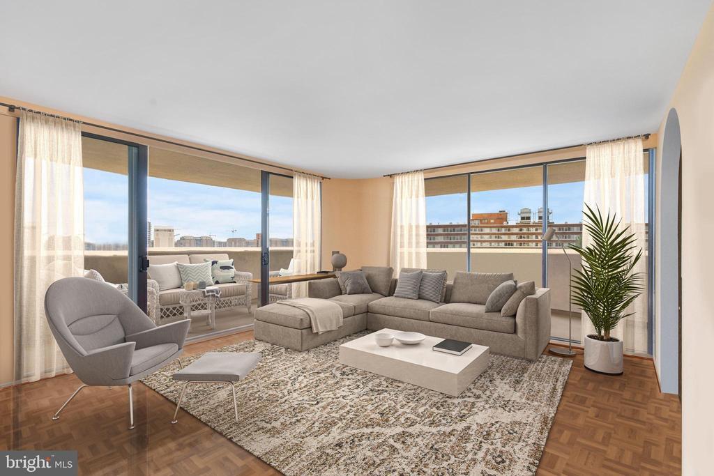 Living room with balcony access - 1101 S ARLINGTON RIDGE RD #602, ARLINGTON