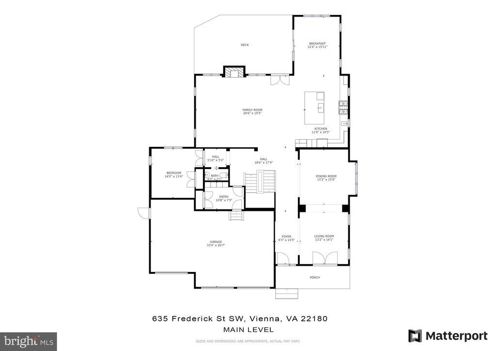 Main level floor plan - 635 FREDERICK ST SW, VIENNA
