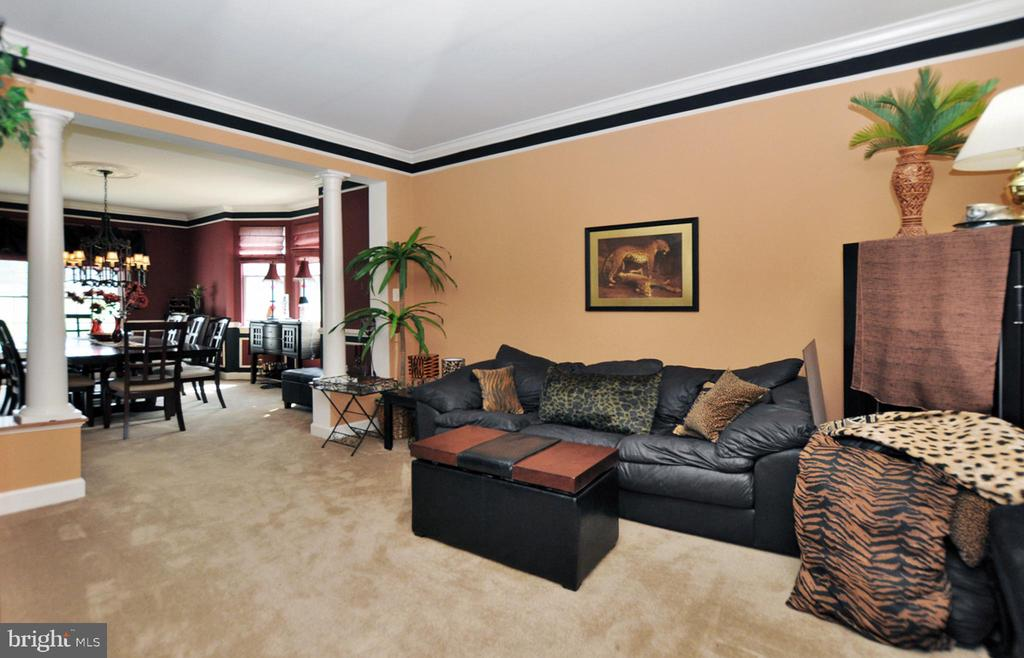 Living room with columned entry to dining room. - 15305 LIONS DEN RD, BURTONSVILLE