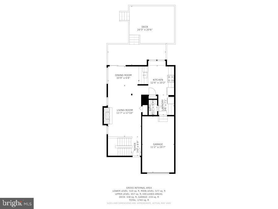 Floor Plan for Main Level of Home - 8423 HOLLIS LN, VIENNA