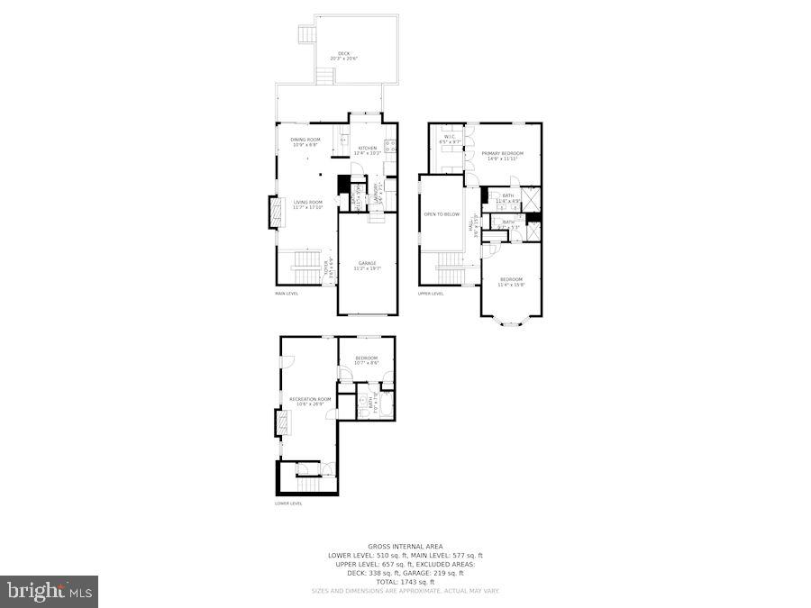 Floor Plan of All 3 Levels - 8423 HOLLIS LN, VIENNA