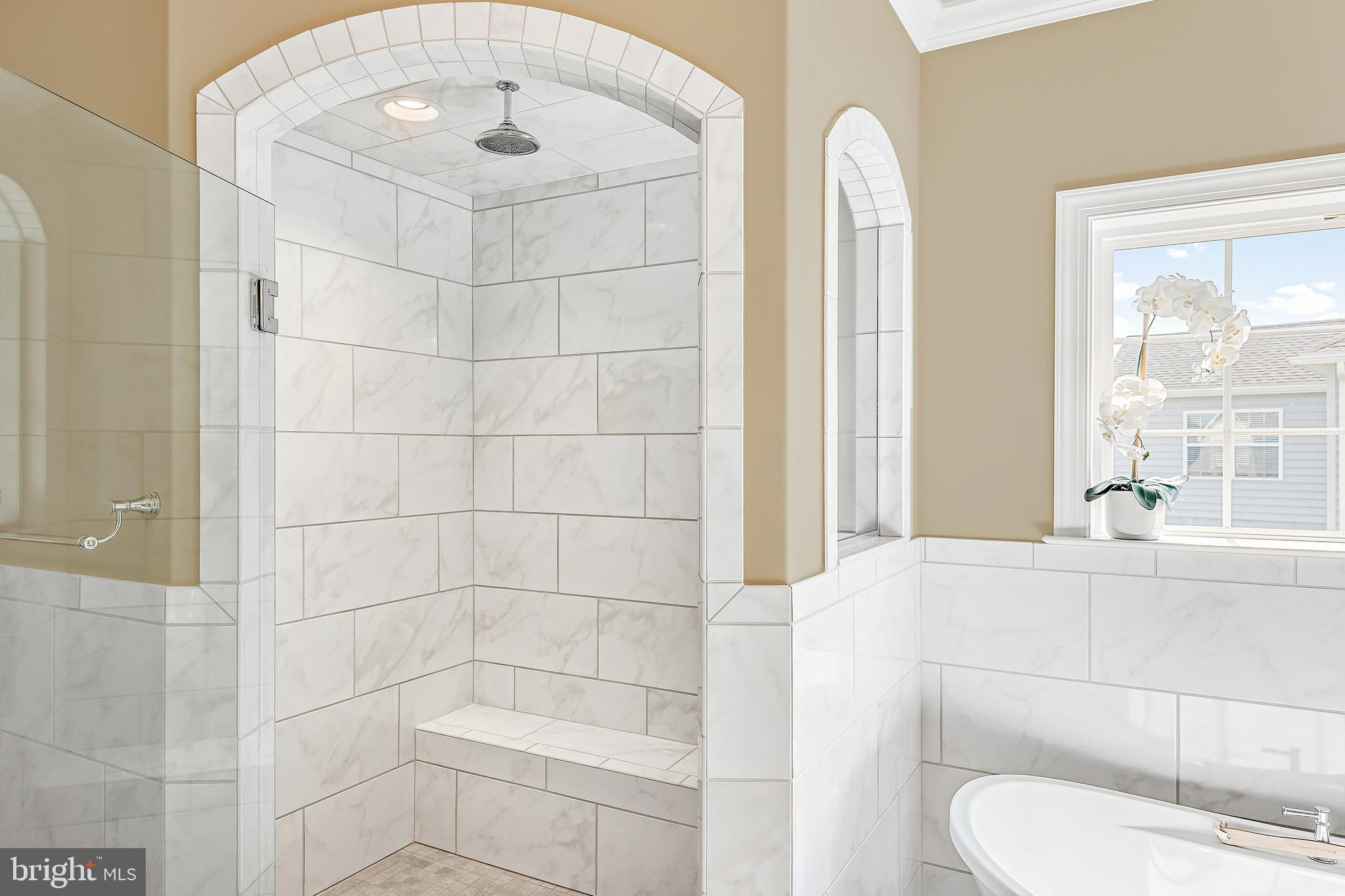 Corner Ceramic Tile Shower