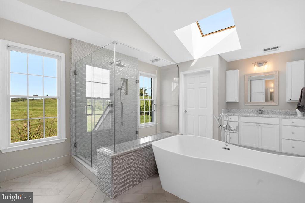Beautiful three-sided glass shower. - 17566 TOBERMORY PL, LEESBURG