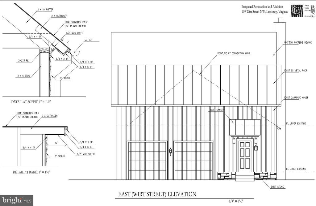 Side view architectural rendering - 109 WIRT ST NW, LEESBURG