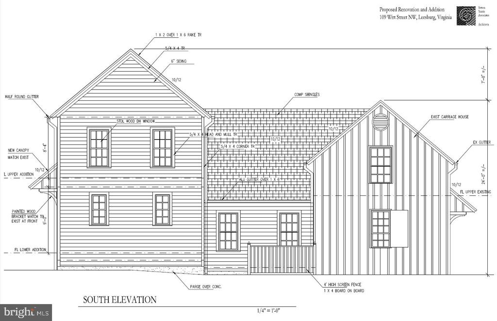 Side view #2 architectural rendering - 109 WIRT ST NW, LEESBURG