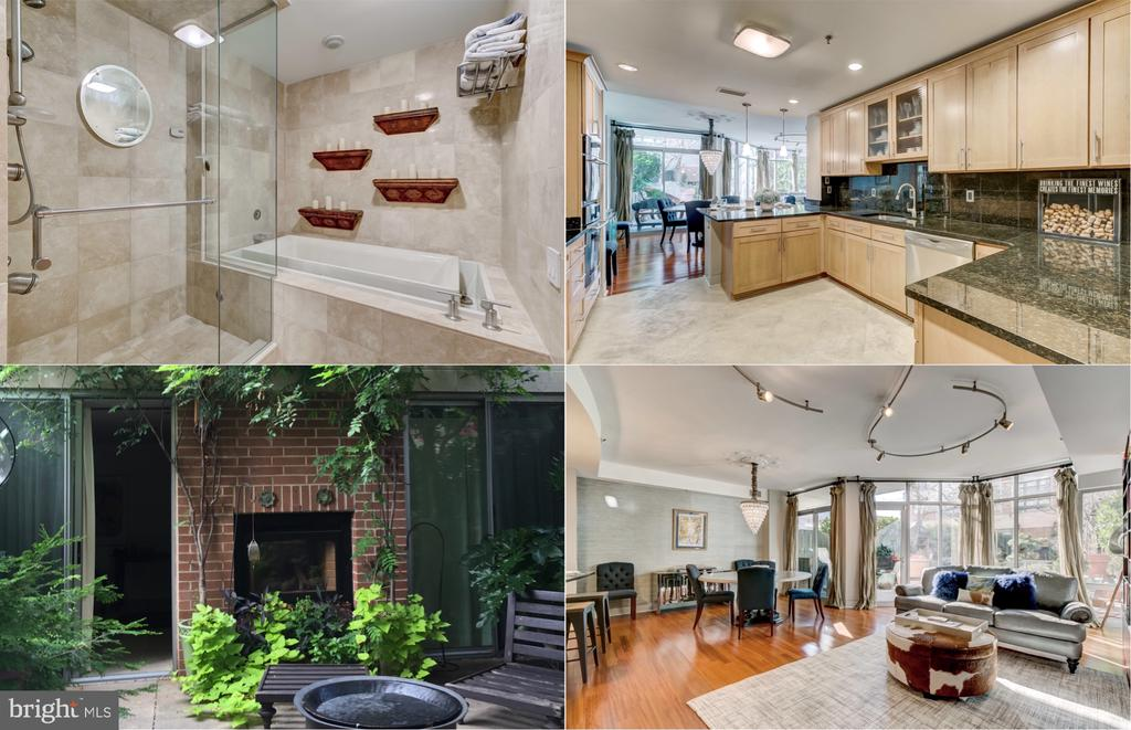 """Rarely available & stylish two story 3BR / 3.5BA unit with a lush 20 x 40 private outdoor terrace / garden. Enjoy 24/7 security. This magnificent terrace is full of mature trees (craned in) & greenery & shares a double sided fireplace with a detached """"Casita"""" guest room / studio (with full bath) & the other side backs to  floor to ceiling windows so the terrace can be fully enjoyed while drenching the unit with sun . The lighting, finishes & fixtures were selected by an amazing interior decorator with no expense spared. Truly an urban oasis on the border of Harbor East & Fells Point! This 1-of-a-kind unit features two spacious master suites that share a connecting balcony & both have walk-in / custom closets . The main floor has great flow with the kitchen / dining / living room / terrace creating a wonderful place to entertain. The Kitchen is perfect with heated floors, custom cabinets and premium appliances. The master bath is truly spa-like with double vanity, high end finishes, separate steam shower and soaking tub. The ultimate urban lifestyle for the discerning buyer.  This unit is full of premium trim, accent boxes and plenty of closets & storage. Enjoy a 2nd level laundry room easily accessed from either suite. Perfectly located where Fells Point, Harbor Point & Harbor East meet. Literally surrounded by the best restaurants, shops, hotels, bars & nightlife Baltimore has to offer. The chandelier, bookcase & TV are not included but are available for sale. All terrace furniture, plants & planter boxes stay."""
