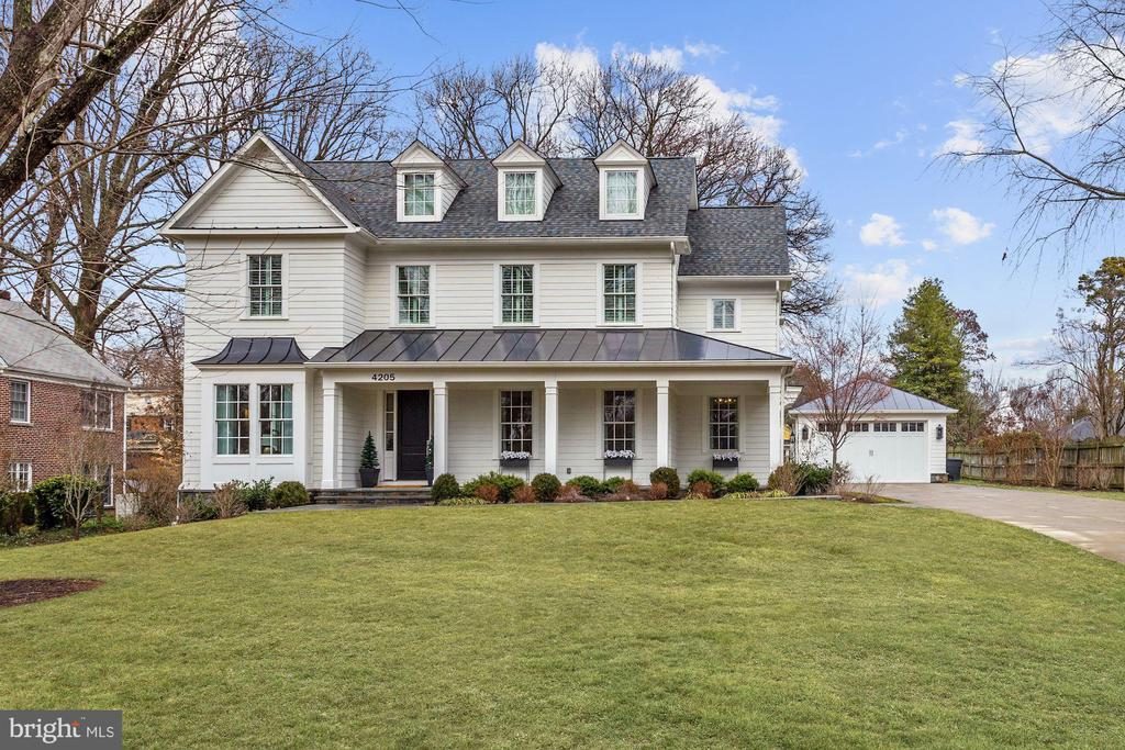 Welcome to Chevy Chase View! Custom built in 2017 and better than new, this gorgeous GTM designed colonial sits on a picturesque half-acre lot. Offering 5 bedrooms plus Den and 5.5 bathrooms, custom inset cabinets, built-in cabinetry, heated master bathroom floors, closet systems, simulated dividing lite windows, Savant home automation system, multi room audio speakers, security cameras, side entry mudroom with attached office, Emtek door hardware, extensive wide louver plantation shutters, crown moulding on main and upper floors, oversize solid core doors, exercise room, front and rear covered porches, second fridge/freezer in pantry, lower level bar area, shed, and natural gas powered generator. Elevator is not included but could be added to the existing three level shaft. Scroll to end of photos for approximate floor-plan renderings. All showings by appointment to pre-qualified purchasers. Please contact Carl Becker for private showing.
