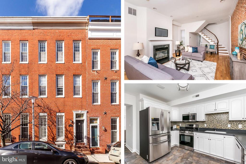 Spacious 2,300+ SqFt - 3 Bed / 3 Bath Home In Fantastic Federal Hill Location w/ Off Street Parking! Full Of Natural Light & Lots Of Baltimore Charm w/ Original Hardwood Floors, Curved Staircase, Exposed Brick & Living Room Fireplace. New Carpet & Fresh Paint Throughout. Brand New Stainless Steel Kitchen Appliances Appliances. Office Space & Separate Dining Room. Large Master Suite w/ Bath & Sitting Room. Fully Finished Basement. Roof Deck w/ Stunning City Views. Easy Access To Shopping, Dining & Commuter Routes. City Living At It's Finest - See Today!