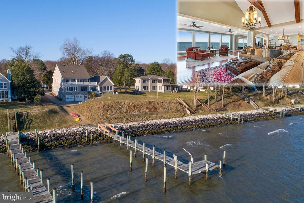 2035 Chesapeake Road is a gorgeous, custom-built home with magnificent Chesapeake Bay views. Built in 2012, this stunning five-bedroom home is sited on three lots totaling almost an acre and is located in the Broadneck school district. The private pier provides many options for enjoying the natural beauty - boat up the Magothy River to explore one of the many creeks or go around to Annapolis and enjoy an ice cream at city dock.  By land you are close to downtown Annapolis, shopping, restaurants and more.As you step inside the craftsman-style wood door and into the foyer you immediately notice the trim details and custom built-ins. This space is perfect for greeting your family and friends. Your gaze is drawn to the beautiful open floor plan and the wall of windows that allow for truly stunning Chesapeake Bay views. From the lovely hardwood floors to the stacked-stone wall and exposed wood beams, this home glitters with top-of-the-line finishes. There's an oversized dining area and a spacious gourmet chef's kitchen. The massive center island has a prep-sink, breakfast bar, and a Wolf five-burner gas stove. The appliances include a Sub-zero side-by-side wood-paneled refrigerator, two Wolf wall ovens, and a beverage cooler. Just off the kitchen is the living room with a pellet stove and amazing water views. To the right of the foyer is a library with gas-fireplace. Down the hall is the luxurious master bedroom suite with panoramic water views, and a spa-like master bathroom with all of the bells and whistles.  Escape to the large soaking tub - the perfect place to unwind at the end of the day. There is a separate tile shower, two vanities, and a private water closet.  There's a second main level bedroom with an ensuite bathroom, as well as a waterside den, wet-bar with granite counters and built-in cabinetry, and a powder room. Upstairs, there are three bedrooms, each with their own bathroom and a studio/home office.  Two of the bedrooms have access to a waterside deck