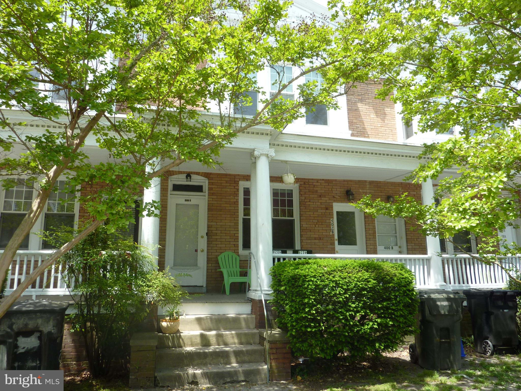 Second floor apartment located on the one-way section at the beginning of Camden Avenue, near downtown Salisbury. The apartment has a living room, kitchen, bathroom, large bedroom, and enclosed rear porch. Appliances include refrigerator, electric stove, and washer/dryer. Features include private front and rear entries, vinyl windows, city service, and gas heat but NO gas bill. Tenant is responsible for electric. Landlord provides natural gas heat and water/sewer/trash services. Available now.