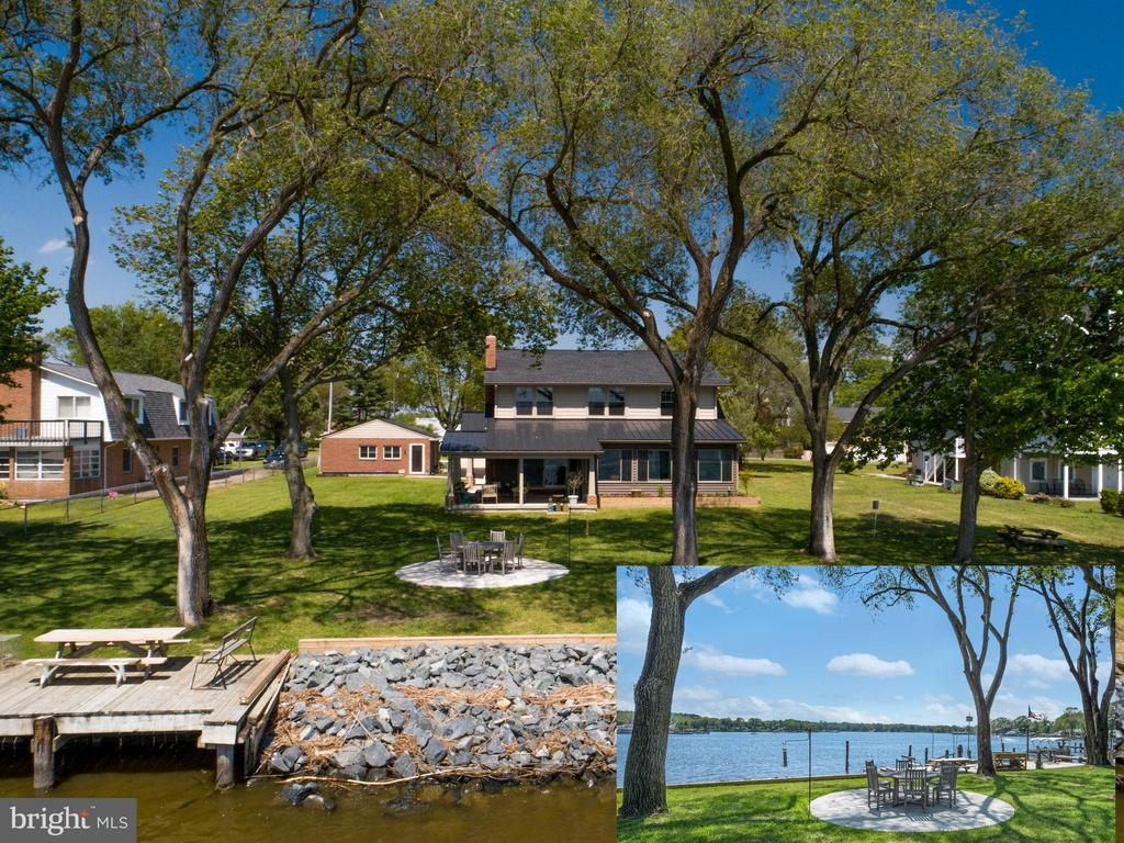 Professionally designed Craftsman home constructed in 2019 on a prime, deep .73 acre waterfront lot on Bodkin's Main Creek. 100' of shoreline with deep water pier. Panoramic Main Creek views yet protected body of water.  Guest house complete with open and spacious kitchen & living room, bedroom, full bath and washer/dryer, approx 690 sf. Main home has beautifully proportioned rooms with classic details, including Craftsman moldings, solid 3 panel doors, and window trim throughout. Every space thoughtfully designed including waterfront family room with wide plank hardwood floors, wood burning fireplace open to gorgeous kitchen with white cabinetry, black granite & black stainless appliances.  Dining room off kitchen and living space offers open layout, yet the possibility of intimate dining with wide plank hardwood floors. 8' sliding doors in family room lead to 18'9x18'8 covered porch with vaulted ceiling overlooking large waterfront yard, a perfect spot to enjoy the outdoors.  Main level waterfront master bedroom with private full bath and walk-in closet has sliders to waterfront sunroom to maximize views. Sunroom is also accessible from the family room and is the perfect place to enjoy the waterfront in all seasons with 3 walls of windows, vaulted ceiling & ceiling fans. Upper level offers 2 additional waterfront bedrooms, and a waterfront office all with spectacular views of Bodkin's Main Creek.  Large bonus room offers flexible space and significant interior storage. Marvin doors and windows throughout.  The waterfront has a reconstructed bulkhead and rip rap (2017 & 2019), private pier with 8' ML depth, 10k lb lift, floating pier and deck at water's edge. Large circular patio close to the shoreline is the perfect spot to enjoy the catch of the day! Paved driveway with ample parking for family or entertaining. 12'x20' shed new in 2020. Guest house updates include: windows 2018, Mitsubishi split HVAC unit, roof, siding and skylights all new 2020. If you're lookin