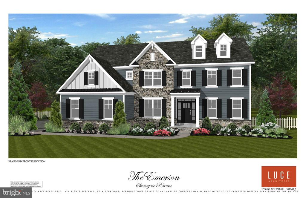 Welcome home to the newest community built by Marc Salamone Homes - Stonegate Reserve. A collection of 18 single family homes in Skippack Township. The Emerson model offers 4-5 Bedrooms, 3-4 Full Baths and 1-2 half baths. The gourmet modern kitchen features large center island, pantry closet, Quartz countertops, built in refrigerator and wall oven. Just off the kitchen is a roomy breakfast area that opens to the impressive family room complete with direct vent gas fireplace with remote   a great low maintenance addition to cozy up any living space. The main floor also features formal dining and living rooms, a private study, a  mudroom with access to the 2-car attached garage, convenient powder room, hardwood floors in the foyer, powder room, dramatic 9ft ceilings and so much more. Upstairs you'll find the impressive Master Suite   featuring optional tray ceiling,  Mater bath and dual walk in closets. Three additional large bedrooms complete this floor along with hall bath, a jack and jill bath and a convenient upper floor laundry room. You won't want to miss this opportunity to own your very own dream home! Options include 1st floor bedroom, morning room addition, 9ft basement walls, 3 car garage and more!