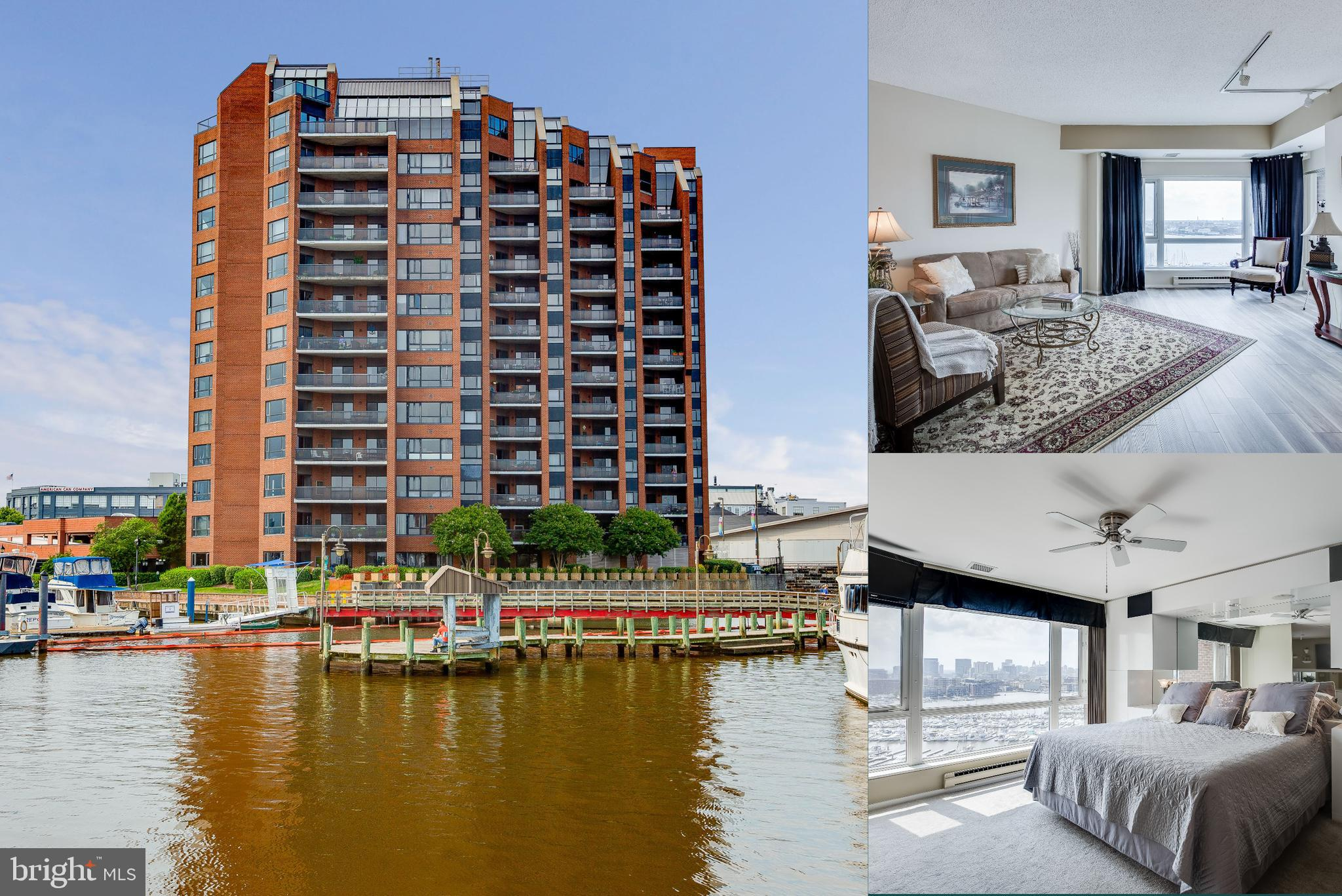 Postcard perfect views await you on the 12th level in the tallest residential building in southeast Baltimore. 2 bedroom, 2.5 bath corner unit offers breathtaking  water and city views from every room.   Upgraded kitchen  with wood floors and tile backsplash. Dual master suites can easily open into a masterful suite! Two balconies are perfect for unwinding the day with a cocktail with company or a good book. Unique to this unit are the 2 prime & protected covered parking spaces** Unit conveys with the largest available storage locker & additional same floor storage** 50' boat slip at Anchorage Marina available for sale by owner. 24 Hour secure building with front desk staff, lobby, meeting room, courtyard & fitness center. Just footsteps from the waterfront promenade, dining & shopping. Easy access to all the city has to offer & commuter routes. City Living At It's Best!