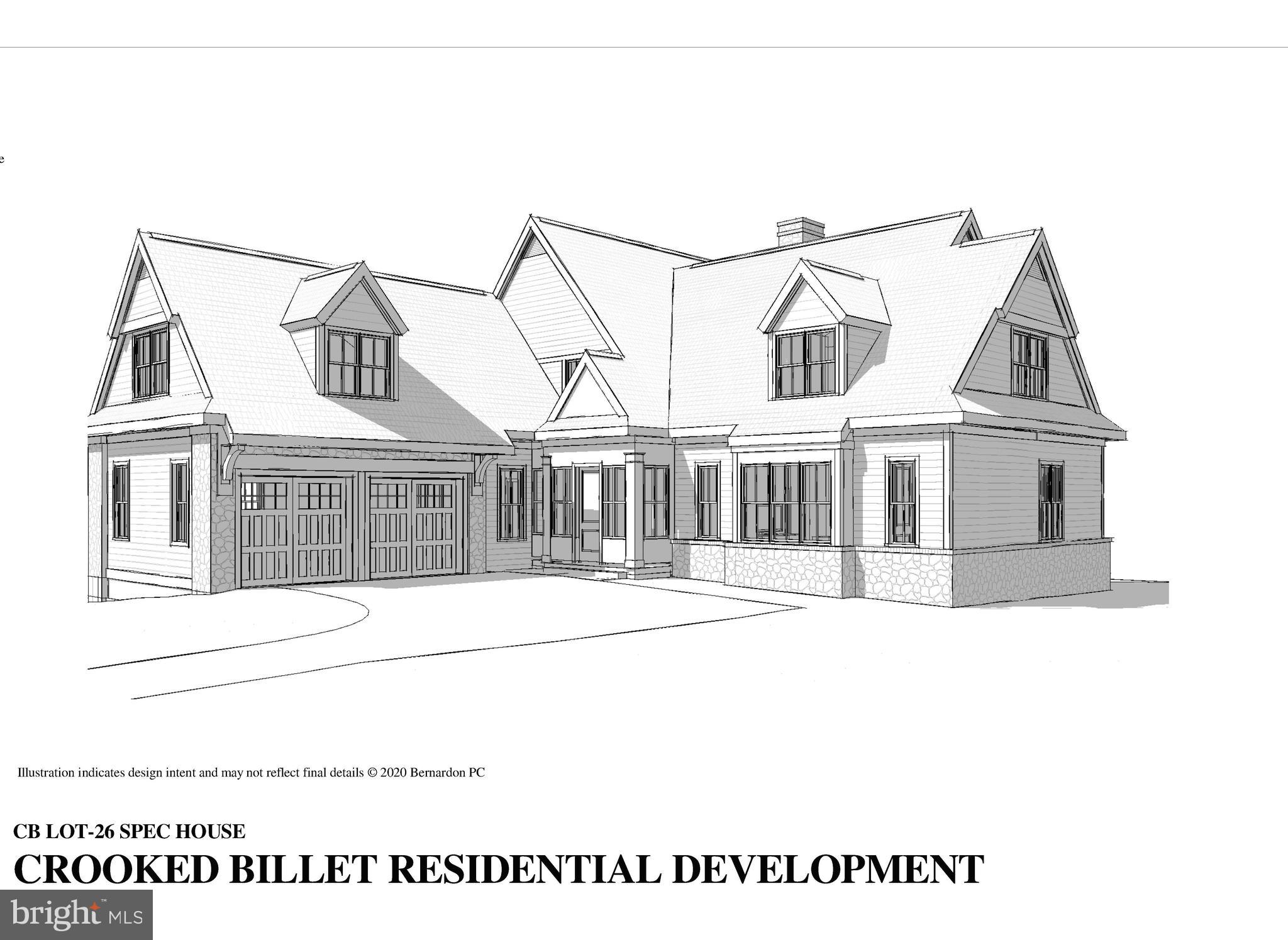 """November 2020 Delivery!!!  This is downsized 55+ living at its finest!  Designed to provide a first floor daily living lifestyle, yet with 2nd floor bedrooms for when your kids or friends come in for a visit.   Stone and cement siding exteriors, Pella Artisan Oversized Windows, 10 foot celings on first floor, finished on site 3"""" hardwoods, Paradise custom cabinets throughout, custom moldings, Kohler fixtures, stone countertops, rear bluestone patio and full footprint 8.5' ceiling poured concrete basement.  Enter through the custom front door into the spacious foyer and step into the light filled living space thanks to oversized windows and 10 foot ceilings.  The open floor concept spans 37 feet from kitchen to a welcoming great room, complete with an oversized fireplace.  Off of the great room is the well planned Master Suite with oversized bath and walk in closets.  Enter from the Master Suite or foyer into the spacious study.  Rounding out the first floor off of the kitchen is an oversized mudroom, laundry - also accessed by the 2 car oversized attached garage.  Access the second floor from a tucked away stair case - with 2 generous bedrooms with a jack and jill bath - additional space available to add a 3rd second floor bedroom or study and/or additional baths.  Crooked Billet is a new 55 and over Luxury Home Development located in the heart of Greenville, Delaware; 30 minutes from Philadelphia and just 90 minutes from NYC and Baltimore/DC area.  This 19 home community is built  on a former 28 acre estate with thoughtfully planned 14 acres of landscaped open space and walking paths. Additional lots available with a choice from  Five sophisticated home plans all being built by renowned builder, Dewson Construction Company.  The plans and home exteriors reflect the beautiful and timeless architecture of the area and offer a range of size and functionality options for individual lifestyles. The development is a  luxury living, turn key community, giving the homeowne"""