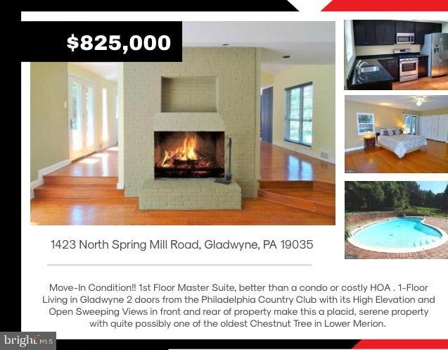 "Move-In Condition!! 1st Floor Master Suite One-Floor Living in Gladwyne, the 6th most-affluent Zip code 19035  in the entire country by Bloomberg. Just 2 doors from the Philadelphia Country Club with its High Elevation and Open Sweeping Views in front and rear of property make this a placid, serene property with quite possibly one of the oldest Chestnut Trees in Lower Merion. 1423 Spring Mill Road is a well maintained updated 2-Bedroom 2.5-Bath with Open Floor Plan, high Vaulted Beamed Ceilings, Gleaming Hardwood Floors, Central HVAC, Replacement Windows, Fenced in Brick Patio and In-Ground Swimming Pool. Living Room is sunny and bright with Wall-to-Wall Windows overlooking the Brick Patio and the In-ground Swimming Pool and tranquil back lawn. The Double-Sided Fireplace and adjoining the Dining Room with high Vaulted Beamed Ceilings opens to outside access to the Fenced-In Brick Patio, In-Ground Swimming Pool and the peaceful Back Yard. Granite Kitchen has Bosch Gas-Range, Oven, Microwave, Dishwasher and Stainless Steel Side x Side Fridge with Ice and Water Dispenser. There is also a separate Breakfast Area. Adjoining the Granite Kitchen is the Large Family Room with High Vaulted Ceilings and South-Western exposure overlooks the Open Sweeping Views of the Front Lawn. Master Bedroom Suite has beautiful Hardwood Floors, Marble En-Suite Master Bath with Walk-In Marble Shower and ""His"" & ""Her"" Marble Sinks and Double Vanity. Glass Doors open out to the Brick Patio and In-Ground Swimming Pool. 2nd Bedroom is large and bright with Replacement Windows, Hardwood Floors and lots of Closet space. Updated 2nd Full Bath with elegant Bath Vanity and Fixtures. This well maintained home has 2 Bedrooms, 2.5 Updated Baths, Living Room, Dining Room, Family Room, Den, Granite Kitchen with Stainless Steel Appliance Package, Separate Breakfast Area, Replacement Windows, Central HVAC, Natural Gas Utilities, tranquil Fenced-In Back yard with In-Ground Swimming Pool, Freshly painted Exterior and Interior and a NEW Roof!! Agent has financial interest. Easy access to major roads and the highway as well as public transportation and is located in the award winning Lower Merion School district.  Bring your buyers, this home is in Move-In Condition!!"