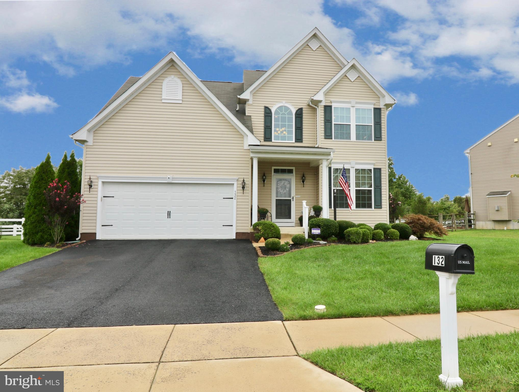 Welcome to 132 Abbigail Crossing! This Townsend Treat was built in 2013, and has been immaculately maintained.  On arrival, there is beautiful landscaping in front of the home.  Upon entering the home,  there is a foyer with 19' ceilings. The first floor also has a half bathroom, dining room, kitchen, great room and sun room. The sun room has hardwood floors. The kitchen consists of granite counter tops, a breakfast bar, a beautiful backsplash, 42 inch cherry cabinets and upgraded appliances. The great room includes vaulted ceilings with a ceiling fan. The sun room has a oversized window with a gorgeous view to the back yard and the doors open to the back patio. The master bedroom is conveniently located on the first floor with a large walk in closet, as well as a tray ceiling with fan. The master bathroom  has a custom walk-in  shower with a seat, a double vanity with solid top and tiled floor. The second floor has two nice sized bedrooms equipped with ceiling fans, a full bath and a loft that overlooks the great room. The basement has a half bath, media room, very large finished room that is used as an office and a very large storage room. This home has an attached 2 car garage with a 2 car driveway for additional parking off the street. The backyard is landscaped as well with a large paver patio that includes a fire pit, 8x12 storage building that matches the house siding and split rail fencing .