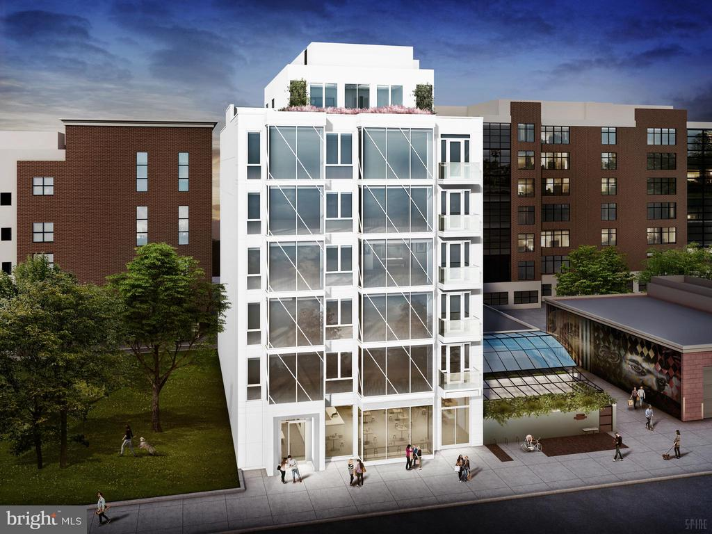 Situated at the crossroads of Shaw and the U Street Corridor, 923 V Street brings a bespoke collection of 19 new modern condominiums to Northwest DC.  The stunning facade of glass & steel integrates into the historic fabric of the neighborhood. Every residence features distinctively designed interiors, innovative amenities and technologies, and thoughtful layouts perfectly tailored to the way you want to live. Enjoy the City at your doorstep and savor the eclectic mix of cafes, restaurants, shops, and nightlife right outside your door. These residences deliver Summer 2021.  This stunning 2 bedroom, 2.5 bath penthouse residence has a gracious open floor plan with 1781 sf of interior space, a feature staircase providing seamless two-level living, floor-to-ceiling glass windows with sweeping views of Washington DC landmarks, private outdoor terraces off of living area, master bedroom suite with walk-in-closet, and full-sized Electrolux washer and dryer.  Chef-Caliber Kitchen features Gas Cooktop and Stylish Island, High-End Stainless-Steel Bosch Appliance Suite, Authentic Parquet Flooring, Bright Cabinetry with Slow-Close Cabinets, Lyskamm Quartz Countertops. Spa-Like Master Bath includes Frameless Glass Shower Enclosure, Backlit Bathroom Mirrors, Dual-Vanities.   Phenomenally located, just a stone's throw from U Street and Shaw nightlife and a new Whole Foods only one-block away.   Includes an assigned parking space and the building has a secure bicycle room.   Project is under construction. No tours available. Pre-construction sales. Please contact Natalie directly for floor plans and more information.