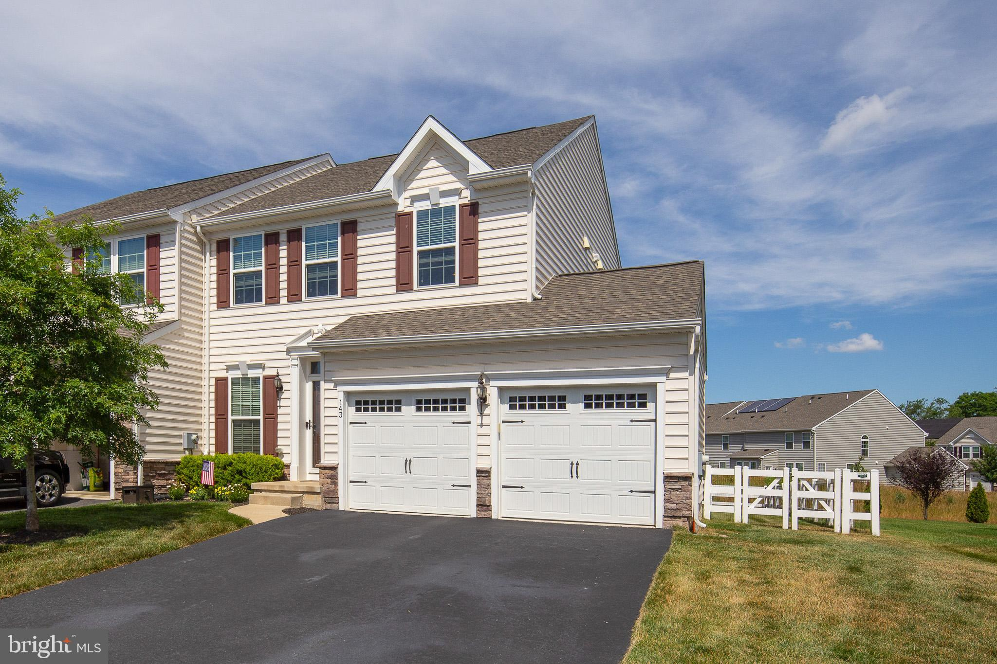 "Welcome to 143 Margaretta Drive located in Canal View!  This two story end unit townhome is only 5 years young and shows pride of ownership at every turn.  Featuring 2800 square feet of finished living space, this model has just about every option from the 2 car garage, finished basement, 4 foot bump out in the rear, maintenance free deck, fenced in rear yard backing to common space, and a rough in for a bathroom on the lower level.  As you enter the front door you will be greeted with the gleaming hardwood floors and flowing natural light through the modern and open floor plan.  In the kitchen you will find granite countertops, 42"" cabinetry, SS appliances, and just off the kitchen you will find a nice sized deck perfect for entertaining outdoors. Heading upstairs you will find 3 generously sized bedrooms all with ceiling fans.  The master suite features a vaulted ceiling, a double vanity, as well as a tiled shower with a glass door enclosure.  Heading back down to the lower level you will find the finished basement offering additional space and storage for any of your needs.  Put this home on your list, it will not disappoint."