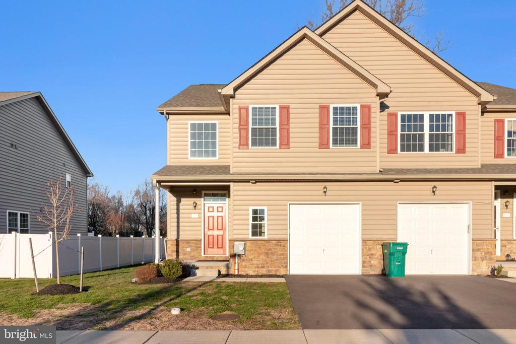 """Your search and wait are over! Location! Location!! Location!!! Welcome to Megan's Court community in Bensalem! Introducing 2 yrs young and 1st resale property on private road off of Mechanicsville Rd....Only 8 luxury twin homes built by esteemed Mar Mar Builders on cul-de-sac in 2018! This B-Belmont model home features an extensive list of features such as modern open concept layout, 3 bedrooms and 3 full & 1 half bathroom, 2 story dramatic entry foyer with crown molding, hardwood flooring throughout main level, and 9 ft high ceilings. The upgraded kitchen with 42"""" cabinets (hardly used by current owner), granite countertops with under mount sink & an Island, a granite breakfast bar overlooking the great room, and stainless-steel appliances fulfills any chef's requirements. The family room offers a remote-controlled direct vent gas fireplace, recessed LED lighting, crown molding and a patio door to beautiful Trex deck and nicely landscaped backyard. Separate dining area, half bathroom next to the coat closet and an access door to full sized garage with a storage area completes the main level. The carpeted stairs (a remote-controlled chairlift included) takes you to upper level where you will find huge master bedroom with his and her closets, recessed lighting, and master bathroom with double vanities. For convenience, the laundry room is located on the upper floor. There are two other bedrooms with ample closet space and hallway bathroom with a separate closet finish this floor. Additional features are full finished basement with 9 ft high ceilings, plenty of storage space, an egress window, and a full bath can be used as an office/study, media, or playroom for kids. A beautiful maintenance free exterior is enhanced with stone and upgraded vinyl siding. Economical and energy efficient with propane gas heat with central air conditioning. Situated in an 8-home cul-de-sac community setting that was professionally designed with Belgian block granite curbs, concrete ped"""