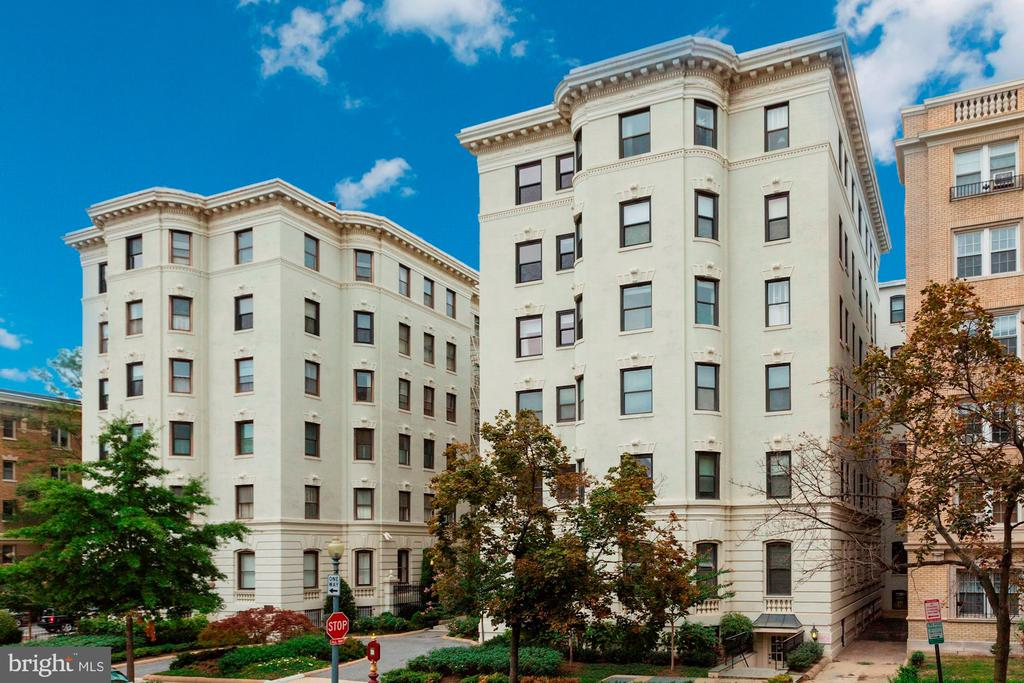 What are you waiting for?  Don't miss this true three bedroom, updated flat in a Beaux Arts Grand Dame building in the heart of Kalorama.  This nearly 1,500 square foot condominium welcomes you with architectural charm and period details throughout like classic millwork, rich hardwoods, deep-set windows and generously sized rooms, while  thoroughly modern with a floorplan designed for entertaining and traditional living. Upon entering buyers are taken by the elegance of this home with soaring ceilings. Flanking the dining room, which is perfect for intimate gatherings or grand parties are the homes three bedrooms, chef's kitchen and inviting living room. Traditionally styled but newly appointed kitchens and bathrooms complement todays way of living with a nod to how this home was intended to be lived in. Spacious closets, a well laid out pantry, plus an additional, separate storage room provide plenty of overflow space for this very special unit. One reserved off street parking space and rare in unit laundry add convenience to the home. A condo fee of $816 gives you all of this plus more in this pet friendly, well managed building!