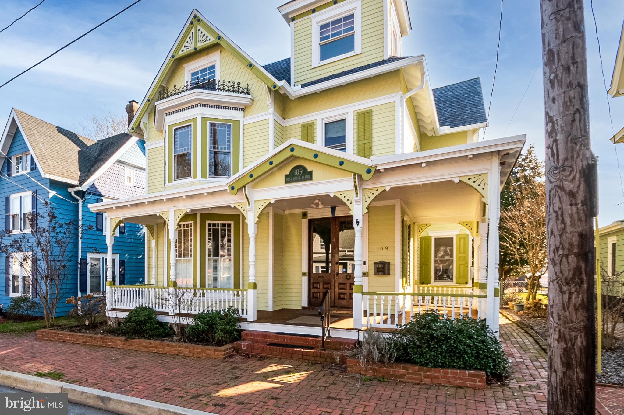 "Due to relocation, this beautiful and lovingly updated National Historic Register Victorian home located on the prettiest street in the historic District of Smyrna is now available. Always a family home for the past 135 years, the Samuel Reynold House has so much offer and appreciate. All the updates were done tastefully to respect the age and character of this charming lady.   From the moment you cross the brick sidewalk and step onto the Teak wrap around porch and enter thru the original grand large double doors, into the open and light filed foyer accentuated by a beautiful staircase(one of two in the house), the light filtering through the diamond shaped stained glass window on the staircase, you realize the details abound in this home.   Through the pocket doors on the left you enter the family room that is warm and inviting with a large stained glass bay window and two additional large windows. Walk through the next set of pocket doors and you enter the parlor, complete with a doll house replica.    Another set of pocket door leads into a huge dining room with a stunning chandelier.  From the dining room you enter your 22 x 13 eat in chef's kitchen.  The cabinets are custom Kraft Maid, there are 2 pantries, a recessed area for your speed queen washer/dryer and plenty of cabinet and drawer space.  The counters are honed granite and the island is topped with a 2"" vintage butcher block.  The range is by DCS and the appliances are by Bosch.  There are 4 large windows and French doors lead out to a backyard perfect for entertaining and fenced for your pets.  The yard boasts a huge new brick patio, a firepit, lush landscaping and mature trees including a mature deciduous pink magnolia as well as perennials, hosta, hydrangeas and seasonal bulbs all in brick lined planting beds. there is also a hook up for your gas outdoor kitchen.  CHECK OUT THE VIDEO TOUR!! The first floor also boasts a full bathroom.  The second floor master bedroom has the same stained glass bay windows as found in the first floor, 2 large side windows and a large walk-in closet.  There are 3 other bedrooms and a full new bath on this level.  The 3rd floor has a large bedroom, an artist room, a library and home office area, a full bath and of course the stunning tower area.  Any teenager would claim the 3rd floor as their own.  Between 2018-2020 a new roof and gutters, central air and split system ac, and all interior and exterior painting was professionally done.   The home, while Victorian in design, has a very open flowing floor plan and works beautifully for the busy modern family. You won't find another Victorian that has been so well kept with as many quality updates.  We hope you enjoy many years in this special home we loved. Call for your private viewing.  SHOWINGS BEGIN JANUARY 16TH WITH THE SCHEDULED OPEN HOUSE!!"