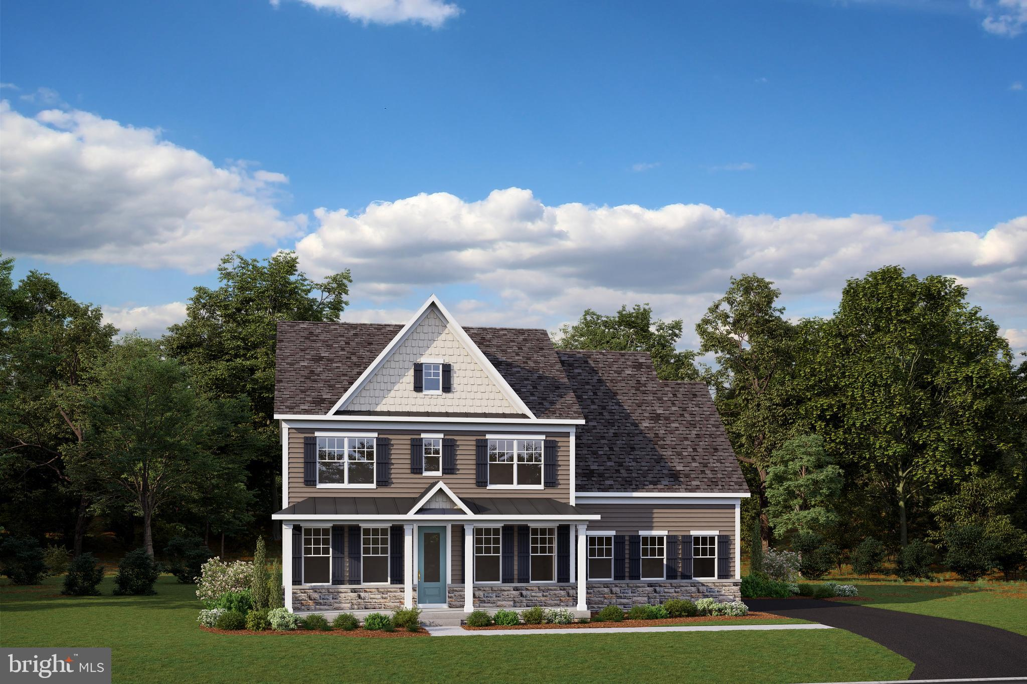 """Welcome to Greystone by NVHomes. Greystone features the only single family homes in a neighborhood with sidewalks, rolling hills, and seven miles of trails just minutes from the Borough. The Liberty at Greystone is a modern home for today's family lifestyles. Your stately new home will feature a hardieplank exterior facade with a two-car side entry garage and a covered front portico for greeting guests in style. Inside, the main living level boasts luxury features such as 5"""" hardwood floors, crown moulding, and oak stairs. As you enter into your gourmet kitchen you'll find a grand kitchen island with upgraded CushionClose cabinetry and quartz countertops. Need to work from home? An included private study awaits you off kitchen. Retreat upstairs to a primary suite with spa bath, including two full walk-in closets. Secondary bedrooms include sizable closets and access to two additional upper level bathrooms. An optional finished lower level is the perfect spot for game night. You will love to call Greystone your new home!  Other floorplans and homesites are available. Photos are representative."""