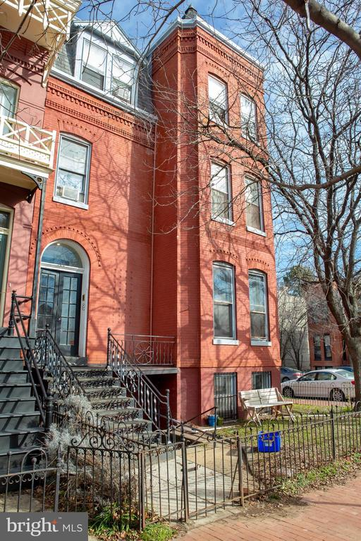 Owner/Investor Alert! In the Historic District on Hot! Hot! Capitol Hill - Imposing Corner property just five blocks to the US Capitol,  and a quick walk to Union Station. Four Full Floor Legal Units - two one bedrooms, two two bedrooms - each with their own washer and dryer, one with a wood burning fireplace, three with extraordinary private outdoor space and all with abundant natural light.  Large separate storage area currently used by owners.  One vacant unit. Sold strictly As IS and shown by appointment only . Weekend appointments 11:00- 4:00  with 24 notice strongly preferred.