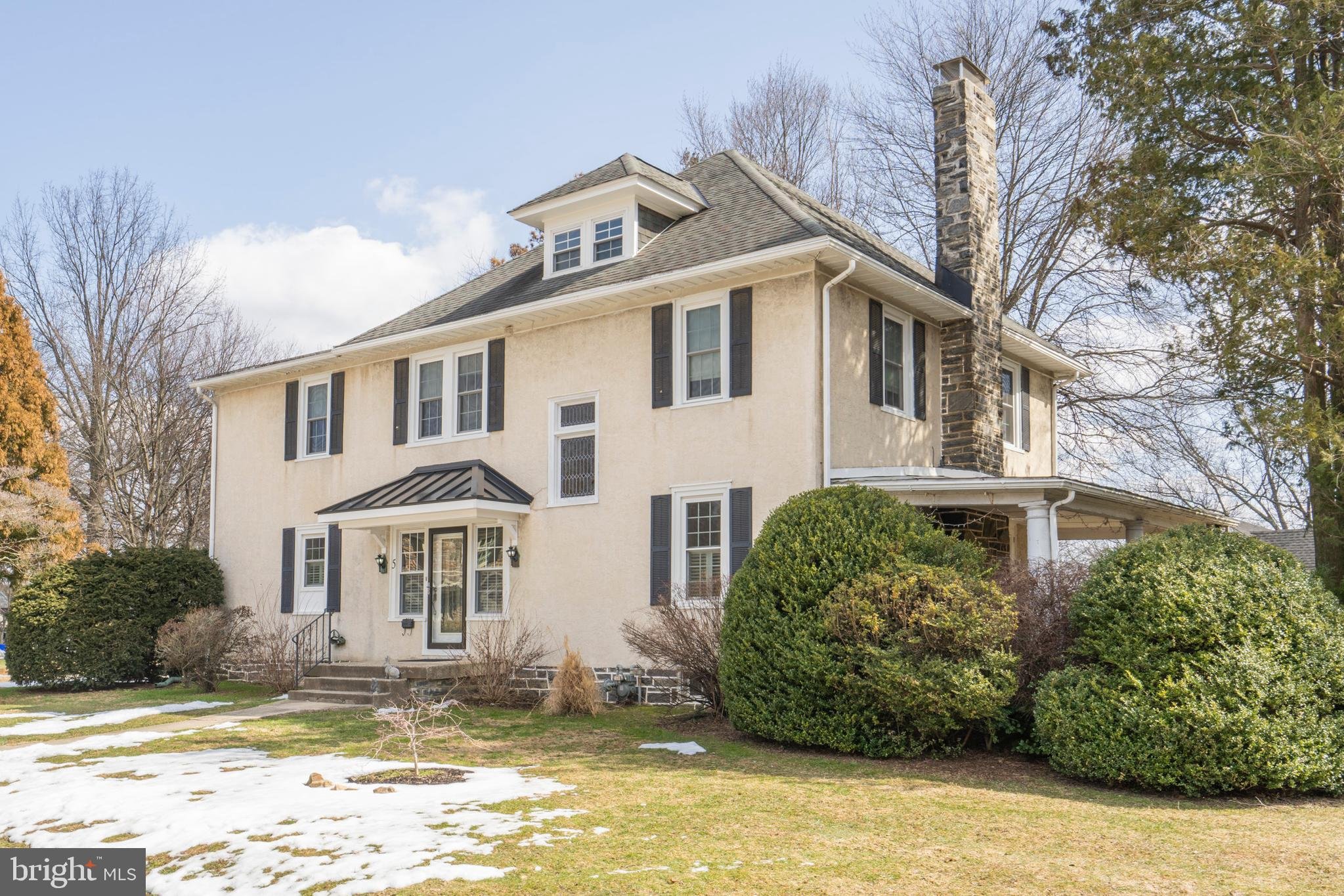 This one is special! Elegant Merion Golf Manor home with many upgrades and updates. Enter into a grand foyer and you will immediately notice the floor plan on the first floor is ideal. To the right is the large living room  with stone fireplace and double french doors that open to the covered side porch. To the left of the foyer is the breakfast room and updated kitchen. These owners have added the new gourmet kitchen with high end appliances, all new baths, new floorings, new central air and lighting. Only a new opportunity in another city would make them want to leave this lovely home. The breakfast room is where you will find the back stairs to the second floor, and access to the first floor laundry, mudroom and powder room. The outside entrance near the garage also leads to this updated space,  What was originally the dining room is now being used as a first floor den, and is a much better use of space for today's lifestyle. However there is plenty of room in the oversized living room to tuck in a dining area, if needed.  That is the beauty of a flexible floor plan. Crown moldings, hardwood floors with walnut ribbon inlays, and beautiful woodwork, all add to the charm of this home. The main stairs to the second floor originate in the living room. Notice the lovely stained glass stairway window.  There are four big bedrooms on the second level, with the most exciting room being a huge master bedroom suite with adjacent  sitting room/office space and newer master bath. The third floor offers another bedroom and storage. The basement is unfinished. New windows in 2019. The two car detached garage and garage door opener and of course there is a private drive. This home is close to everything.  An easy commute into town.  Enjoy everything Haverford Township has to offer. Great schools, walk to shopping and restaurants. Come enjoy Spring and Summer weather in your new address. It will be 5 Cedarbrook Road,