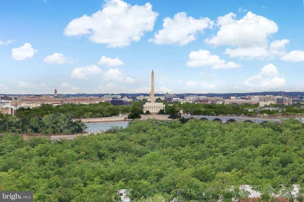 """A truly stunning condo with unparalleled views of the Washington Monuments, Georgetown, Memorial Bridge, Potomac River and the DC skyline!  A once in a lifetime opportunity to own a condo unlike any other with spectacular vistas from the sunrise in the morning to lighted monuments at night.  This 2400 sf two level condo is an architectural masterpiece as a result of two condos being thoughtfully combined and renovated using only the finest materials and finishes.  It features a living room with 13 ft ceiling and floor to ceiling glass doors leading to open air balconies, three bedrooms and three baths, top of the line gourmet kitchen, surround sound throughout and three parking spaces.  Have a direct view of the Fourth of July fireworks from the private balconies. This luxury condominium was listed in """"Best Addresses"""" by James M Goode. Conveniently located just  blocks to the Rosslyn Metro, Georgetown and DC.  Walk to Roosevelt Island with jogging and biking trails.  Only three miles to Reagan National Airport and the new Amazon Headquarters. The Prospect House is a rare gem condominium building that offers 24 hour front desk service, security, fitness center, bicycle room, party room, olympic sized heated pool, on-site convenience store, dry cleaners and laundry."""