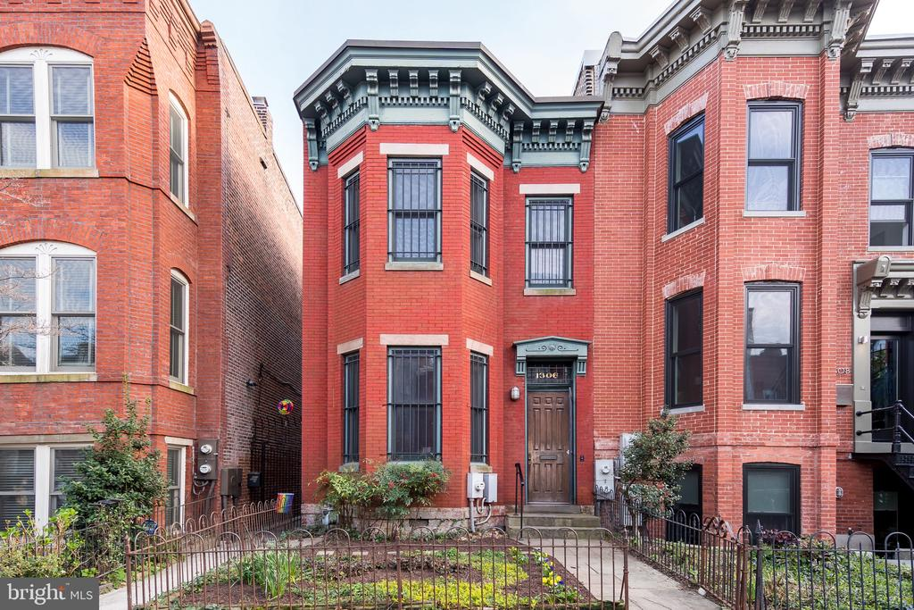 Charming  opportunity in DC's most sought after neighborhood, in the heart of the 14th & U Street Corridors! This classic two story Victorian row home boasts a bay window in both the lower level living room and street facing bedroom upstairs for excellent natural light. A bespoke fireplace designed by a local artist adds unique character to the living room with a floating staircase creating an open feel to the space. Beautiful slate flooring, from the same quarry used to outfit the Capitol, provides depth and character to the space. Cool hip NYC open style loft with exposed brick and beams throughout.  Less than a block from Trader Joes, Metro, and the endless amenities of 14th and U Streets, as well as Logan Circle!