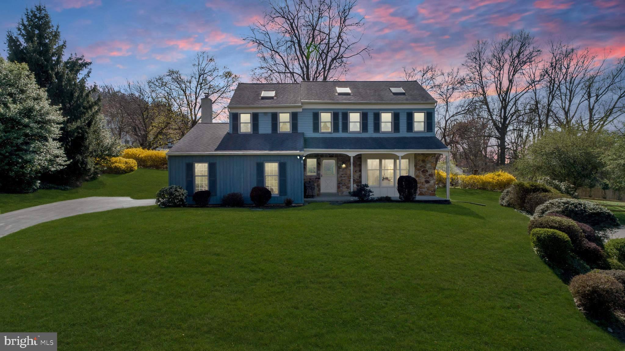 Welcome to 2084 Hawthorne Place, Paoli! At the end of a secluded cul-de-sac stands this Lexton Woods 2-story colonial home with front porch with new vinyl posts. Built in 1983, this 2,355 square foot home including 4 bedrooms and 2.5 baths has been lovingly maintained. Step into the entry foyer with hardwood floors and notice the traditional layout. A carpeted formal living room with triple window flows into the dining room with crown molding and chair rails plus new Anderson windows. An open concept eat-in kitchen features Corian counters, 5 burner glass top stove, microwave, under mount sink, wood cabinetry, ceiling fan with light, and casement windows. Step down into the family room with track lighting and Velux skylight plus sliding glass doors to the brick patio and backyard. The wood burning fireplace with stone surround is the focal point of this room. Access the laundry area, powder room, and 2-car garage that includes electric openers from here. The carpeted upstairs hosts a primary bedroom suite with Velux skylight, walk in closet, and new vanity top in the bathroom and Velux skylight plus three additional bedrooms, each with a Velux skylight that share the hall bathroom with double bowl sink & Velux skylight. Attic access can be found in the hallway. This home also has an unfinished full basement. * * * Visit the personalized website that we created especially for this home at http://2084hawthorneplace.listingseller.com/ to view enhanced professional photography, aerial drone footage, community video, detailed floor plan, virtual reality walk through, and three-dimensional Matterport tour * * * Only a 1.3 mile walk to the recently renovated Paoli Train Station. Situated in Pennsylvania's top school district, Tredyffrin-Easttown.