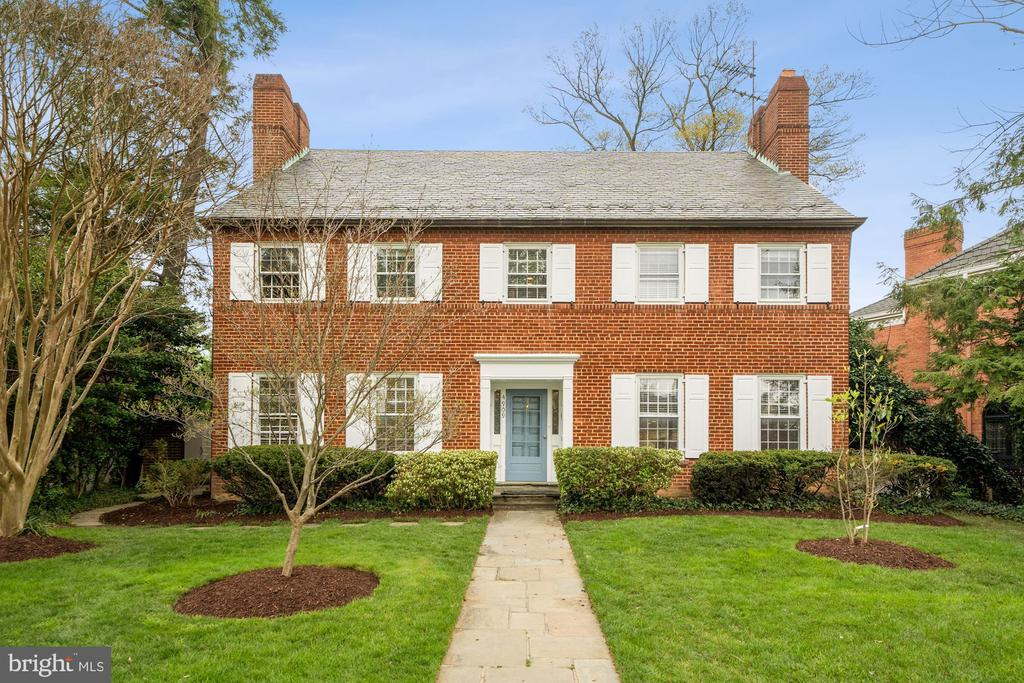 This is a tremendous and rare opportunity to own your dream home on a premier street and premium lot. Nestled in sought-after Forest Hills, this 7BR 4.5BA offers green views from virtually every room. This classic, timeless, and renovated colonial offers approximately 5500 square feet of usefully designed space. The elegant first floor offers an open and light-filled renovated chef's kitchen, formal dining room, expansive living room, award winning architect Ankie Barnes designed rec room addition, office, a new powder room and a multitude of generous closets.   Upstairs on the second level are four extremely spacious bedrooms and two full baths. The owner's bedroom suite includes a separate office area, and a large custom designed by Ankie Barnes renovated marble bathroom with double vanity, extra-long whirlpool tub, and expanded glass-enclosed shower stall. The brand new marble hallway bath includes an extra-large tub and double vanity. On the third level are two additional very large bedrooms with skylights and treetop views, and another new marble bathroom with a double vanity. Both attic-level bedrooms have roomy built-in desks.   On the lower level is another newly renovated expansive recreation room with a fireplace, a substantial storage, laundry room, a temperature controlled wine cellar, and the seventh bedroom that includes its own en-suite bath. Behind the home is a large flagstone patio, manicured gardens, and a two-car garage. Add to this a new heating and cooling system. This location offers a city oasis, walking distance to Metro, restaurants, and some of the upper northwest's favorite shops such as Politics & Prose, Sfoglina, Bread Furst, and Calvert Woodley Fine Wines and Spirits, as well as easy access to Rock Creek Park.