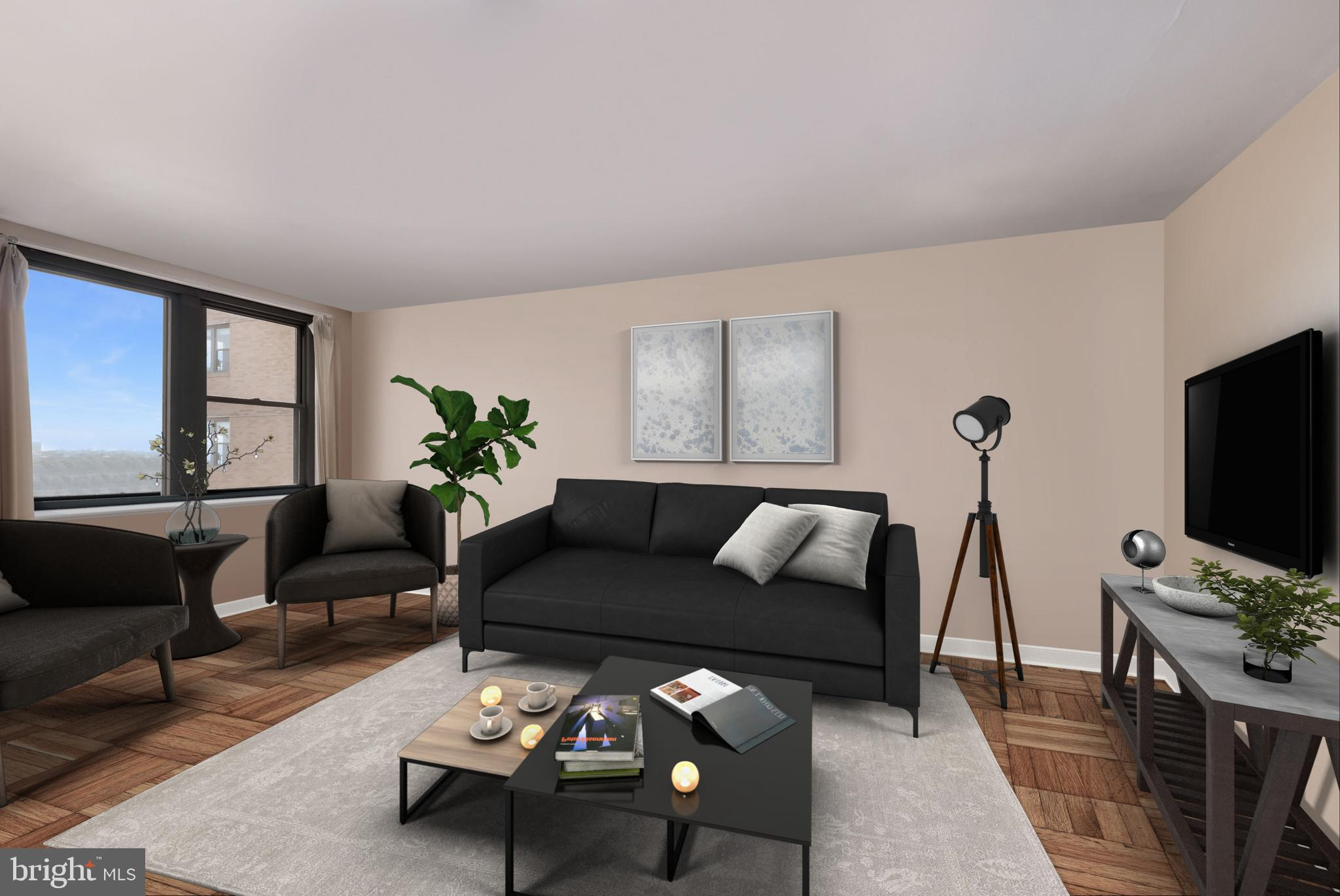 Picture perfect  renovated 2 BEDROOM 1 BATH condo FACING FAIRMOUNT PARK and THE PHILADELPHIA ART MUSEUM,for sale@ 2601 PENNSYLVANIA AVE . All open and sun splashed living and dining area. Kitchen with stunning black granite countertops,  stainless steel appliances,  and tons of cabinet space.  Each bedroom is gracious, with large closets.  All marble bath, and linen closet as well.  Enjoy living in this fantastic building, with magnificent lobby, business center, roof top deck, restaurant and market. Also, just minutes from Chop, University of Pennsylvania,  Wholefoods market,  and some of the city's best dining and coffee shops!