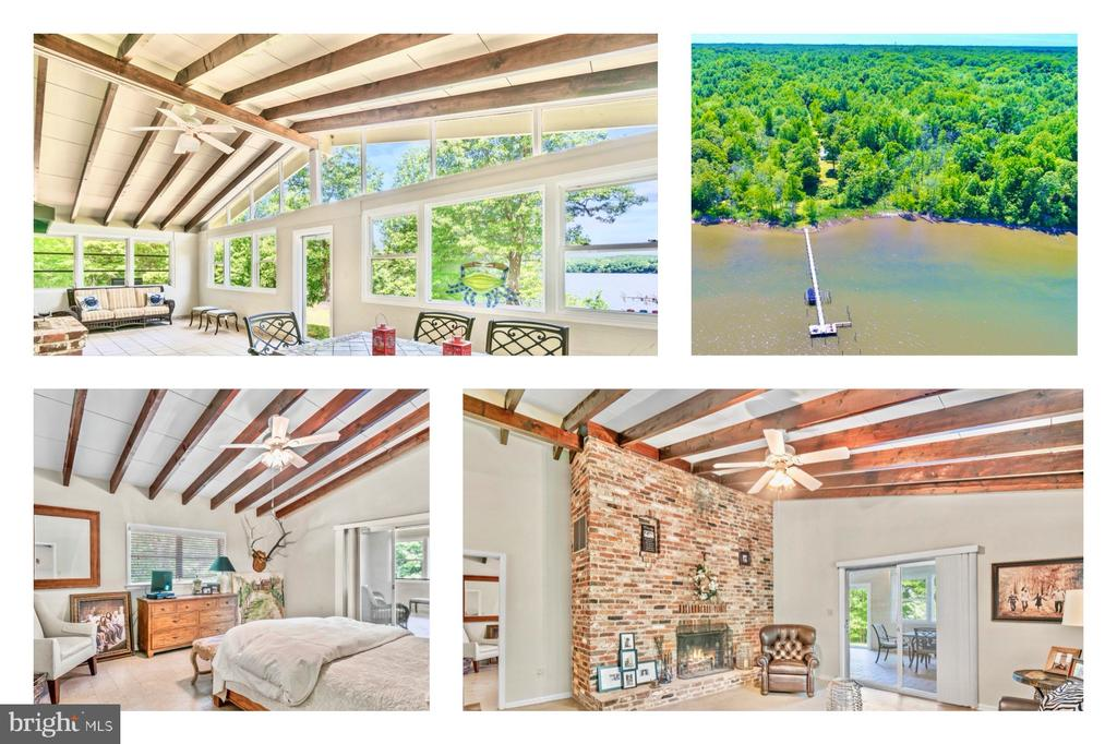 Living on the Water is Magical! This 23.99 acre estate with 594.52 ft. of water frontage is a rare find on the Potomac Creek with quick access to the Potomac River. This mid-century bungalow has high ceilings and exposed beams in every room. Move-in ready but with your imagination, it could be reimagined into something modern and impressive! This home is situated on a knoll allowing for excellent views of the sunrises to the east and sunsets to the west. Located in the private waterfront retreat community with wonderful neighbors. Your private 250 ft. long pier with a  30 x 15 T dock  was built in recent years and features electrical, 3 boat lifts and 1 jet ski lift. Enjoy access to your own boat(s), jet skis, paddle boards or kayaks. The dock is accessible by the yard or you may drive down by car using the old Union Army ramp. Included in the document section you will find a prior approval to install a concrete boat ramp. Don't let the exterior fool you, the home is larger and more spacious than it appears. Each room is uniquely impressive with the high ceilings and architectural details such as the ceiling beams and the brick fireplaces. The sunroom is a gathering place for entertaining, relaxing and cooking on the indoor open fireplace. The master bedroom has a full bathroom and walk-in closet. There were originally 3 bedrooms. The 3rd bedroom was converted to a large walk-in closet/sitting room off the master bedroom. This could be converted back to the 3rd bedroom in the future. There is a detached garage. The home has a conventional septic system and well. In 2010, when the current owner purchased the home there was a perc test approval report for a four bedroom home. The community deed covenants include a road maintenance agreement that states all owners will share in the cost of the road gravel and maintenance as needed. You can move in and begin enjoying a life on the river immediately without any projects or expenses. Located approximately 15 minutes to Hi