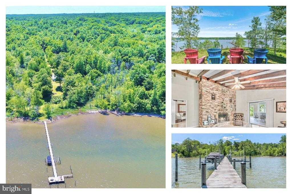 Living on the Water is Magical! This 23.99 acre estate with 594.52 ft. of water frontage is a rare find on the Potomac Creek with quick access to the Potomac River. This mid-century bungalow has high ceilings and exposed beams in every room. Move-in ready but with your imagination, it could be reimagined into something modern and impressive! This home is situated on a knoll allowing for excellent views of the sunrises to the east and sunsets to the west. Located in the private waterfront retreat community with wonderful neighbors. Your private 250 ft. long pier with a  30 x 15 T dock  was built in recent years and features electrical, 3 boat lifts and 1 jet ski lift. Enjoy access to your own boat(s), jet skis, paddle boards or kayaks. The dock is accessible by the yard or you may drive down by car using the old Union Army ramp. Included in the document section you will find a prior approval to install a concrete boat ramp. Don't let the exterior fool you, the home is larger and more spacious than it appears. Each room is uniquely impressive with the high ceilings and architectural details such as the ceiling beams and the brick fireplaces. The sunroom is a gathering place for entertaining, relaxing and cooking on the indoor open fireplace. The master bedroom has a full bathroom and walk-in closet. There is a detached garage. The home has a conventional septic system and well. In 2010, when the current owner purchased the home there was a perc test approval report for a four bedroom home. The community deed covenants include a road maintenance agreement that states all owners will share in the cost of the road gravel and maintenance as needed. You can move in and begin enjoying a life on the river immediately without any projects or expenses. Located approximately 15 minutes to Historic Downtown Fredericksburg, VRE and I-95. Express Lanes are under construction now. There are an abundance of Bald Eagles, Osprey, Geese and hundreds of other bird species active year ro