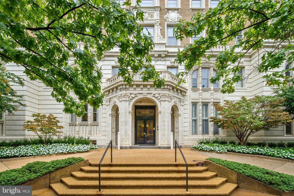 NEW LISTING!! 2029 Connecticut is the epitome of grand Beaux Arts construction in Washington, influenced by French architecture, including the Palace of Versailles. It was designed by Hunter and Bell and built in 1917. It is perfectly sited in Kalorama, and has been home to a former president, presidential candidate, ambassadors, members of Congress and many distinguished people representing a variety of professions. This exquisite home offers large, light filled public spaces that gracefully flow together for elegant entertaining. The home is approximately 3,200 sq ft (per floor plan), boasting tall ceilings with fabulous, crisp moldings, plus a renovated kitchen and baths. A private bedroom and en suite bath are located just off the foyer, as is easy access to the kitchen. The large reception room opens to the foyer, dining room, living room and study. The owner's suite includes a large, renovated en suite bath, plus a separate sitting area. There are three to four additional bedrooms, two additional full baths, one half bath, and a Miele washer and dryer. There is ample assigned storage and one assigned, garage parking space. The building's roof deck has just gotten a major facelift, with the passenger elevator going to the roof, new furniture and umbrellas, plus a newly renovated kitchen and restroom. The attentive staff at 2029 provides 24-hour front desk service, cleaning and building maintenance.