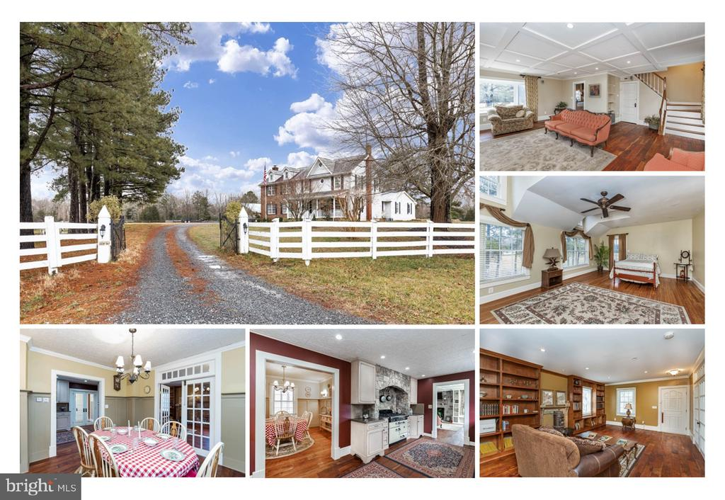 Welcome to 15267 James Madison Parkway ... A modern interpretation of the classic American Farmhouse.  Sitting on over 26 acres, this property has been updated and meticulously maintained.  The home is well appointed with details and features including Acacia Wood Floors on the first floor, and Heart Pine Floors on the second floor.  The Mudroom entry with Tile Floors and wainescotting welcomes guests into this charming home.  As you pass through the French Doors with transoms you are greeted by an elegant French Country Kitchen featuring Custom Cabinetry, Beadboard Backsplash, Quartz Countertops with custom edge, Farm House Sink, and a Stone Hearth surrounding the Custom Aga gas range.  The Formal Dining Room is adorned with Crown Moulding and panel wainescotting.  The spacious Family Room has panelled ceiling with wood inlay, built-in bookcases, and a Stone Faced fireplace at the center of it all.  The Living Room also features built-in bookcases, crown moulding, and recessed lighting.  The first floor Laundry is conveniently located, and includes a full stand up shower, laundry sink, with base and wall cabinetry.  There are 2 sets of stairs to take you to the heart pine flooring of the second floor.  The light filled hallway provides a comfortable pathtway to the 3 Large Bedrooms on this level.  There is also a home office Nook that is centrally located.  The secondary bedrooms include private closets, wood flooring, and ceiling fans.  One of the bedrooms also includes beaded wainescotting with chair railing.  The Hall Bath has a window for natural light, Pedestal Sink, Wall Sconces, and a rare Claw Foot Tub with Shower curtain and Trim.  The Owners Suite is very accomodating.  With varying ceiling heights and angles, the appearance of cut in dormers provide a unique aesthetic and an abundance of light.  There is room for a sitting area as well.  The Ensuite Bath is a dream with tile floors, Beadboard wainescotting, twin pedestal sinks, clawfoot soaking tub, and 