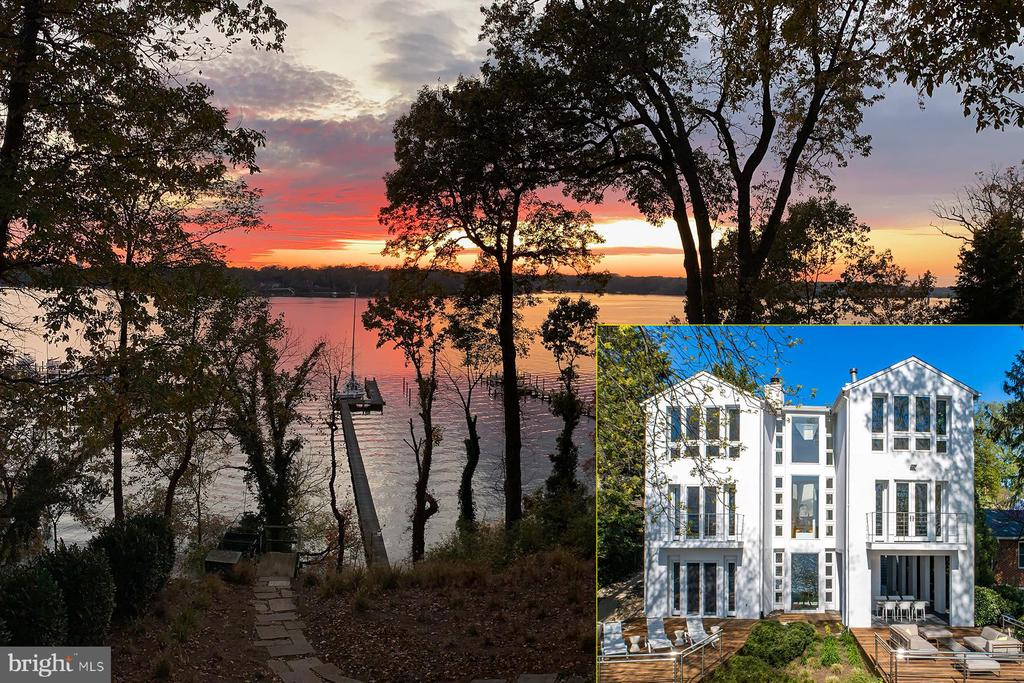 """1902 Carrollton Road is an enchanting waterfront home overlooking the Severn River with a private, deep-water pier. This stunning contemporary home is an architectural accomplishment that merges a sense of space and light with function. As you step inside the home the soaring ceilings and myriad windows invite you to admire the water views. The open floor plan and skylights flood the space with light. Relax on the spacious ipe decks and, when the wind picks up, head down to your pier with 12 ft water depth for even the deepest draft sailboat. The property feels quite private, with lush landscaping, yet it is an easy bike ride into Annapolis or a short drive to major commuting routes to both Baltimore and Washington D.C. Plus, it's just over 3 hours to New York City! The home offers both private spaces and gracious entertaining areas, all with incomparable views. The private entrance porch leads to a light-filled foyer from which you are beckoned towards the water by the architecture. As you step into the two-story atrium, you face a literal wall of windows overlooking the Severn River. This center viewpoint organizes the top two levels of the home. The formal living room, to the left, has a raised, wood-burning fireplace and access to a waterside balcony. There is a complementary waterside den on the right that also has a water view balcony. The den opens to a large multi-purpose room: it can serve as a formal dining room for larger gatherings or as a media room/home office. Light oak hardwood floors unify these rooms in addition to the views and abundance of natural light. There also is a guest bedroom and full bath on this level. From the bridge landing above, the center viewpoint separates the owner's suite on one side from the other bedrooms. This """"private"""" floor offers a luxurious owner's suite; there's a water view bedroom with double-sided fireplace, vaulted ceiling, hardwood floors, and sitting room. Multiple closets are organized around a comfortable dressi"""