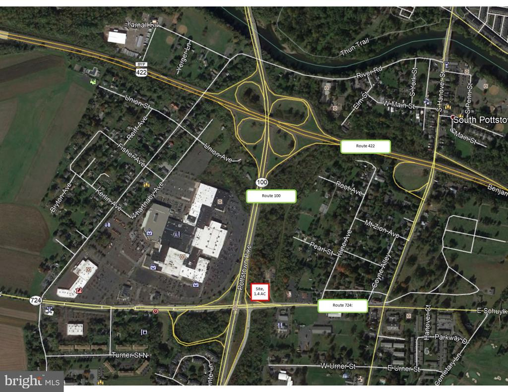 AVAILABLE FOR LEASE OR SALE. 1.4 acre development site, part of a larger 17+ acre parcel. The site is located at one end of a 17+ acre development site (with future residential development potential) along Pottstown Pike N (Route 100). The larger parcel is zoned TC-1 and will be part of future residential development, while the 1.4 acre parcel has been rezoned to TC-2, allowing for commercial uses such as retail, multi-family, educational, religious, day-care, etc. The property features frontage on Route 100 and Route 724.  Area retailers include those in the Coventry Mall, such as Boscov's, Kohl's Dick's Sporting Goods, Bath & Body Works, Anytime Fitness; Flagship Cinemas; and entrance to site is situated across from Wawa on Route 724.